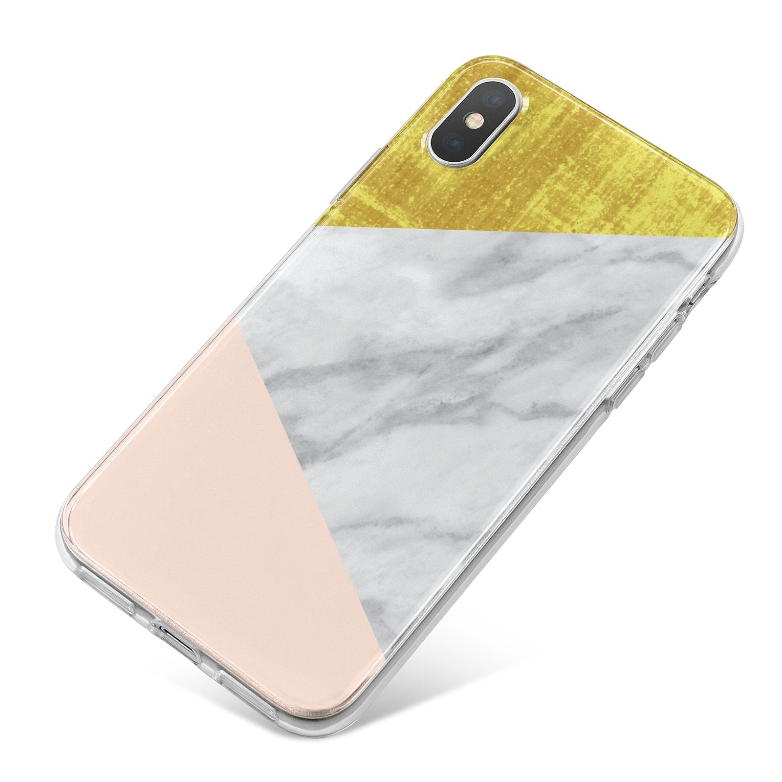 Marble White Gold Foil Peach iPhone X Bumper Case on Silver iPhone