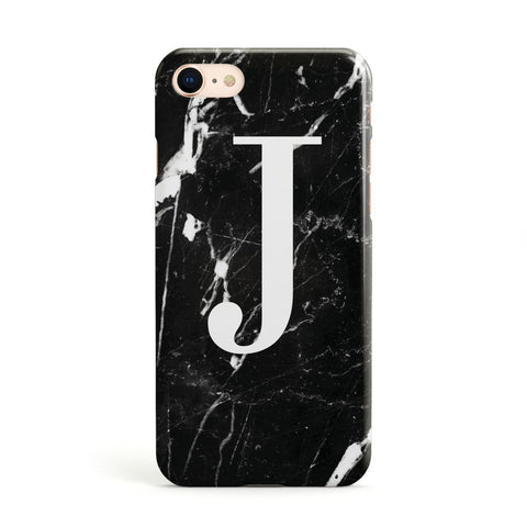 Marble White Initial Personalised Apple iPhone Case