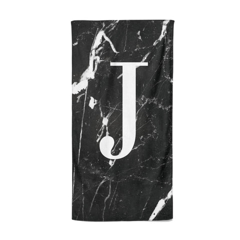 Marble White Initial Personalised Beach Towel