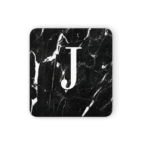 Marble White Initial Personalised Coasters set of 4