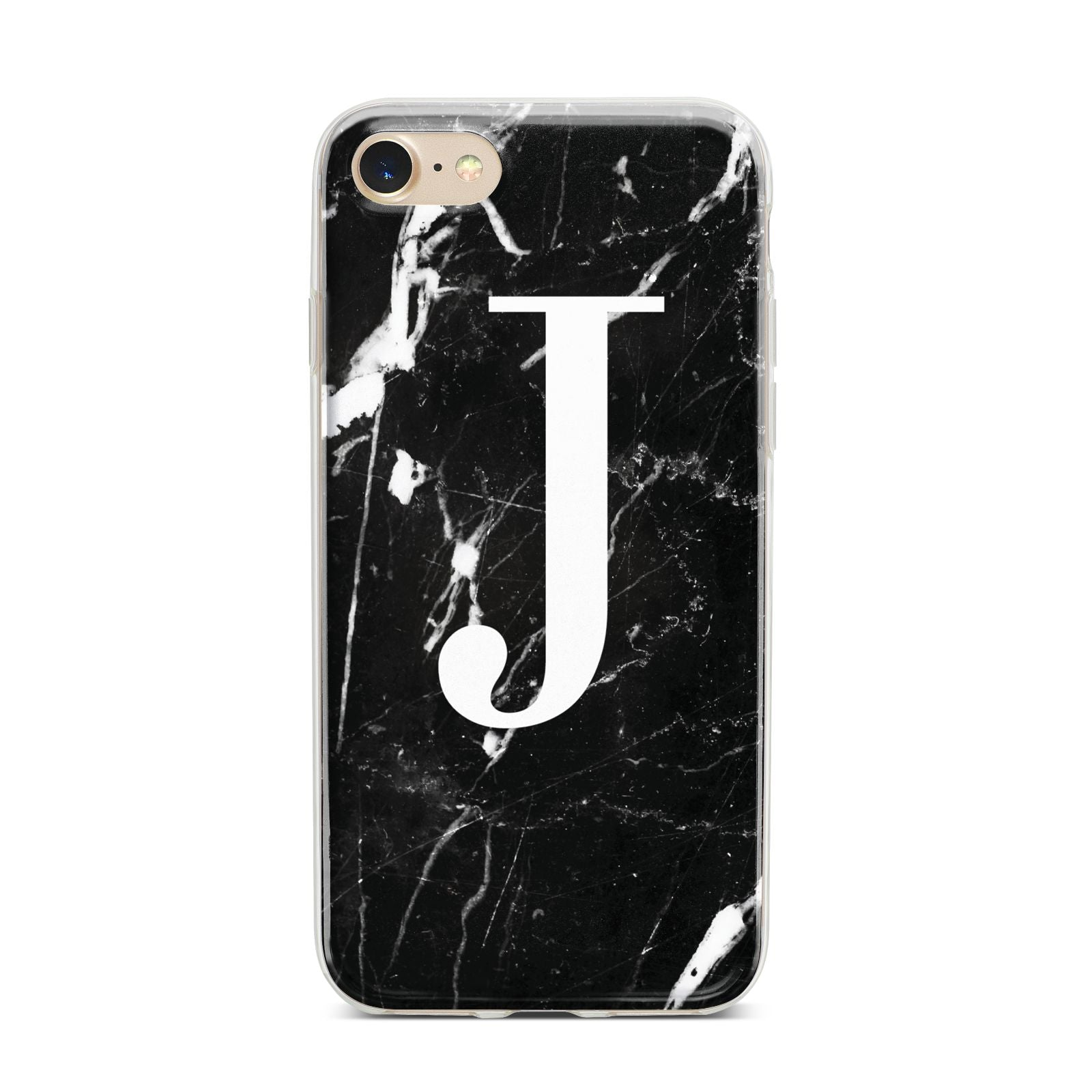 Marble White Initial Personalised iPhone 7 Bumper Case on Gold iPhone