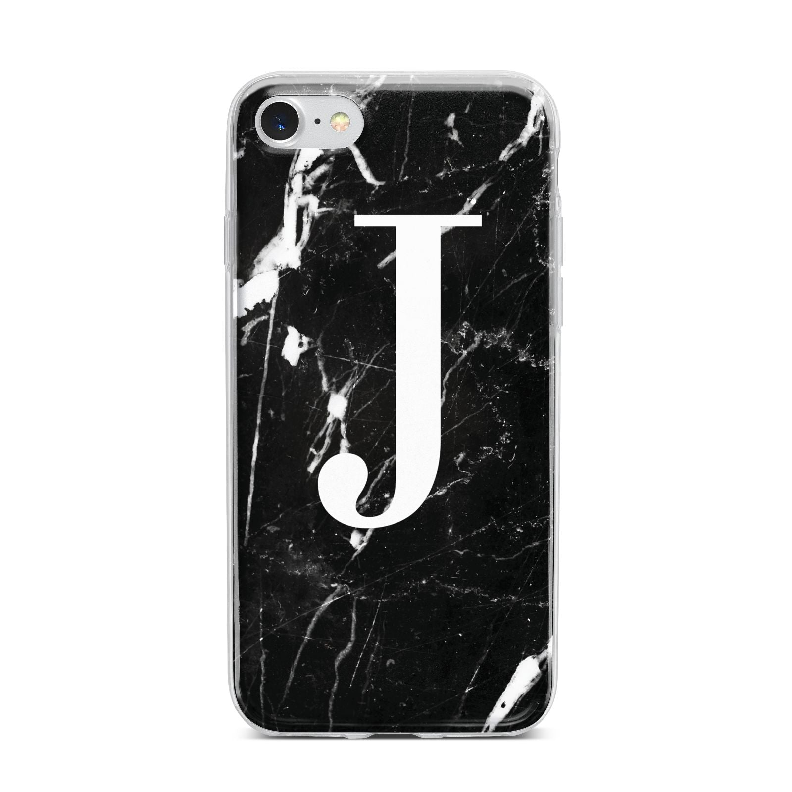 Marble White Initial Personalised iPhone 7 Bumper Case on Silver iPhone