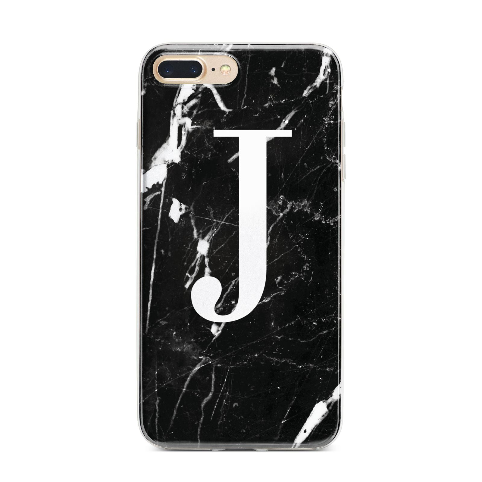 Marble White Initial Personalised iPhone 7 Plus Bumper Case on Gold iPhone