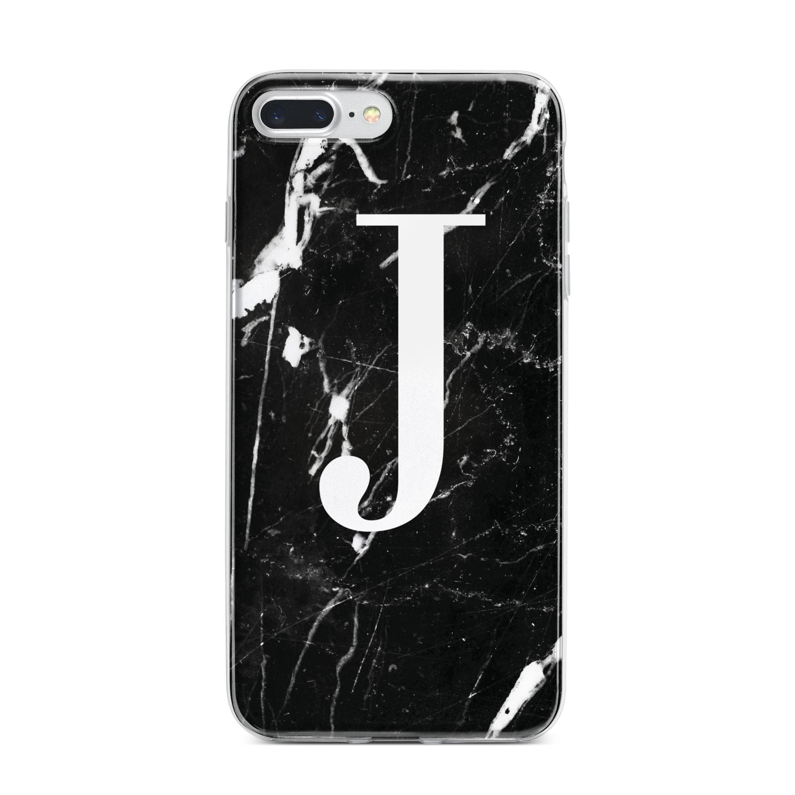 Marble White Initial Personalised iPhone 7 Plus Bumper Case on Silver iPhone