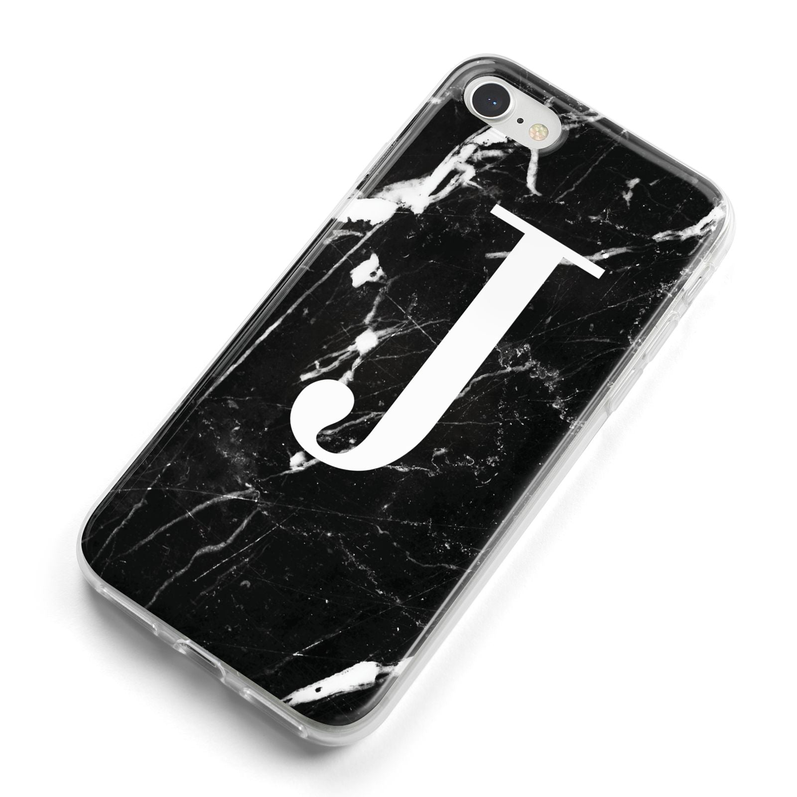 Marble White Initial Personalised iPhone 8 Bumper Case on Silver iPhone Alternative Image