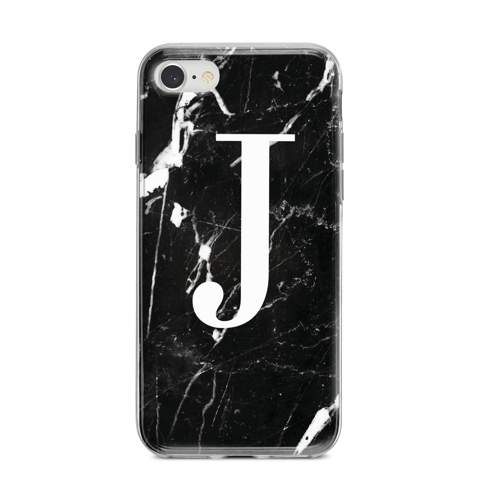 Marble White Initial Personalised iPhone 8 Bumper Case on Silver iPhone
