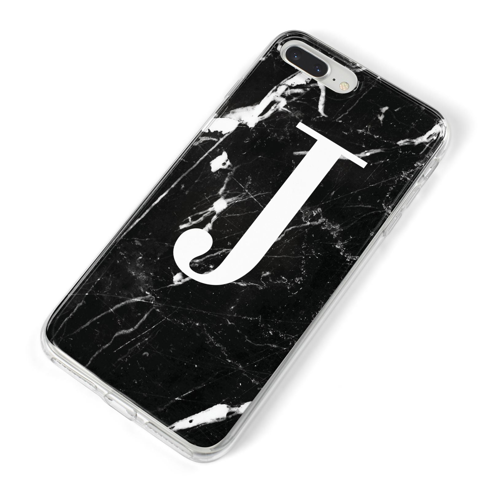 Marble White Initial Personalised iPhone 8 Plus Bumper Case on Silver iPhone Alternative Image