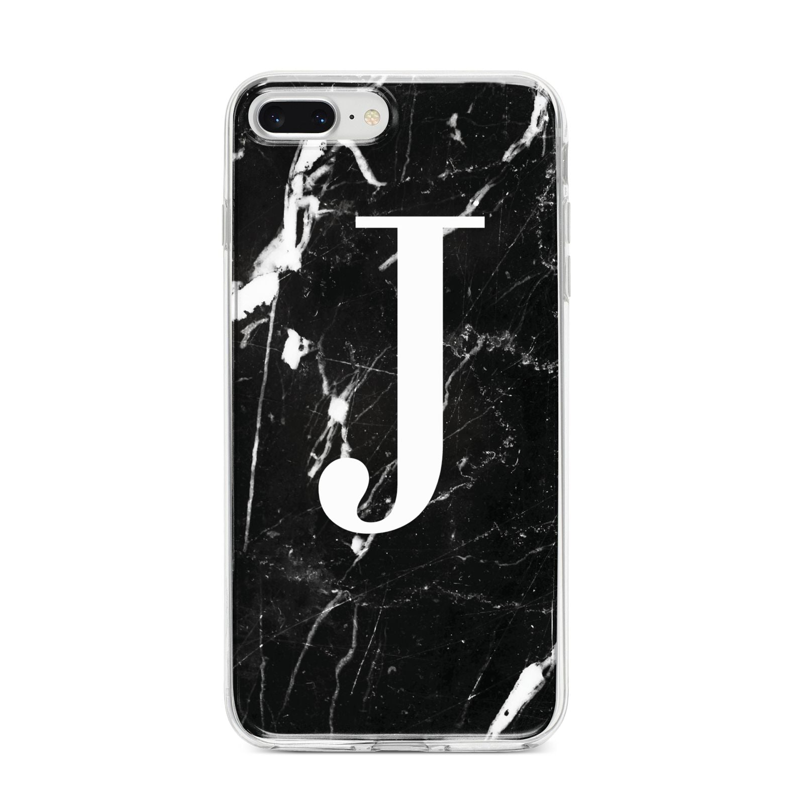 Marble White Initial Personalised iPhone 8 Plus Bumper Case on Silver iPhone