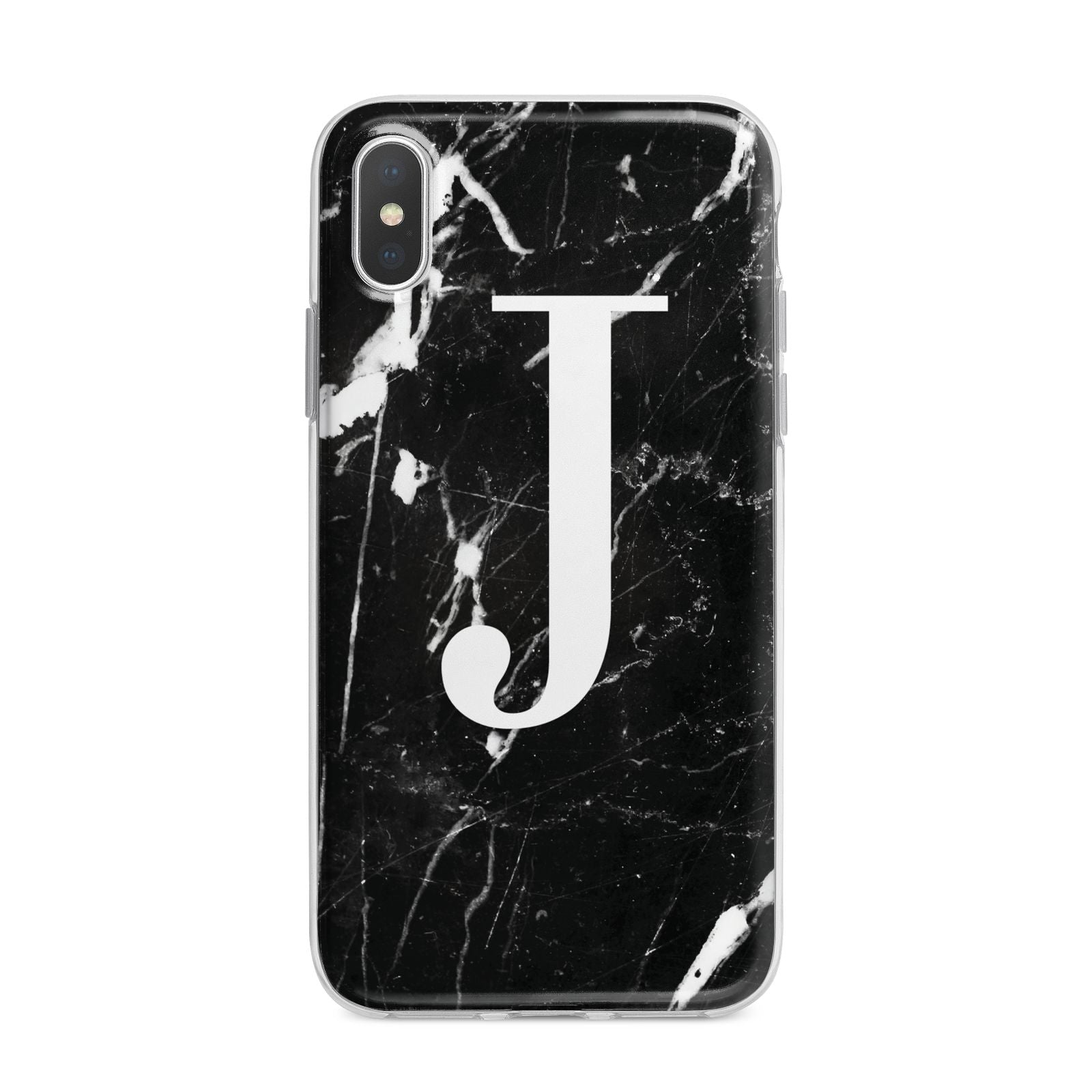 Marble White Initial Personalised iPhone X Bumper Case on Silver iPhone Alternative Image 1