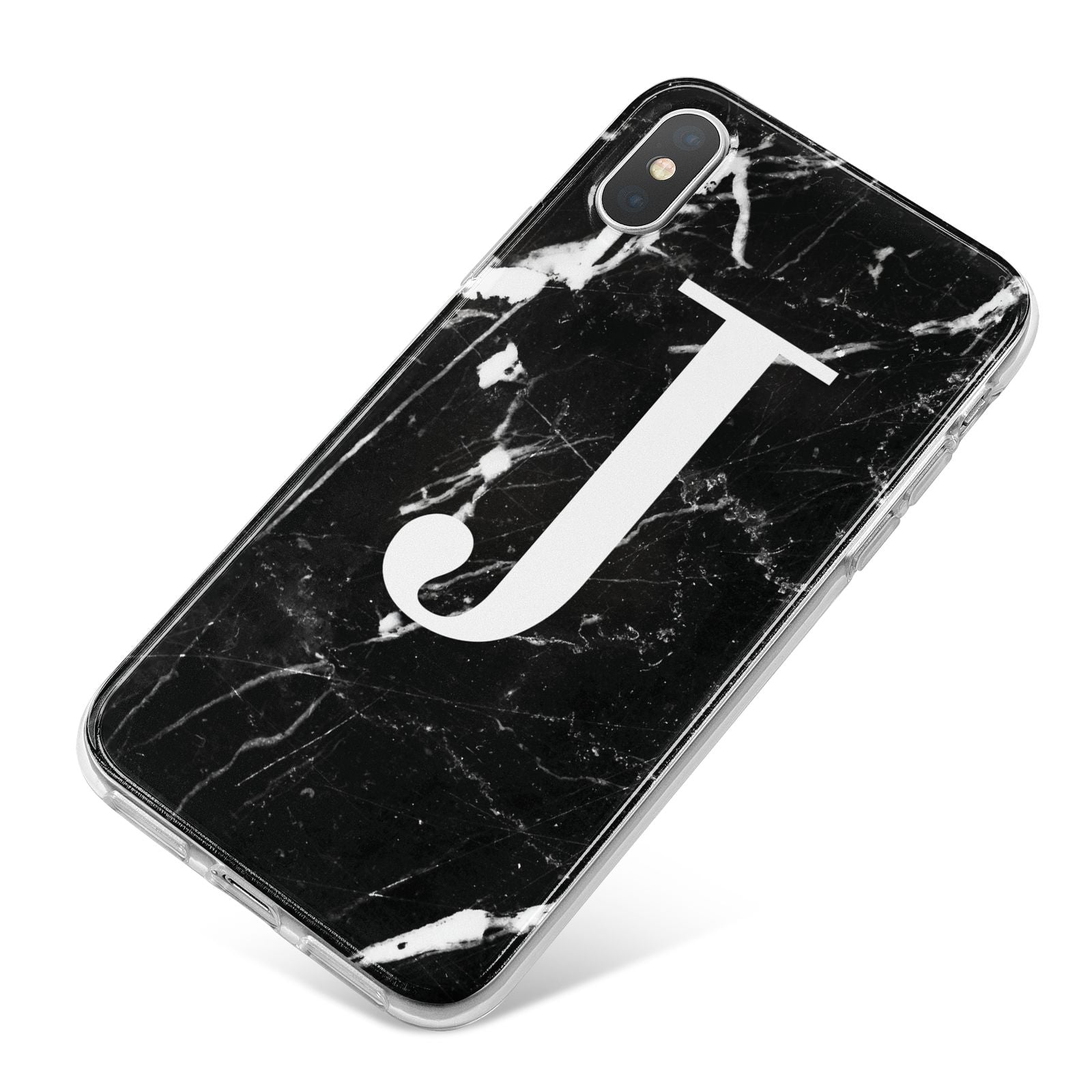 Marble White Initial Personalised iPhone X Bumper Case on Silver iPhone