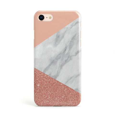 Marble White Rose Gold Glitter Apple iPhone Case