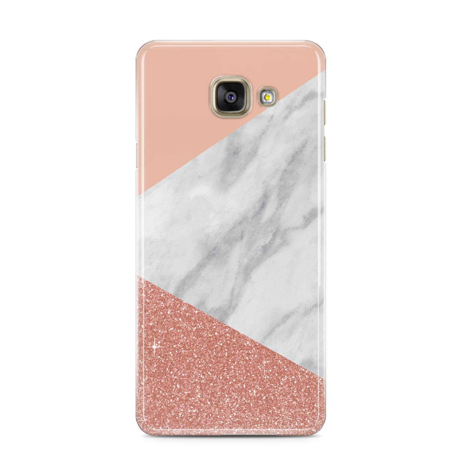 Marble White Rose Gold Samsung Galaxy A3 2016 Case on gold phone