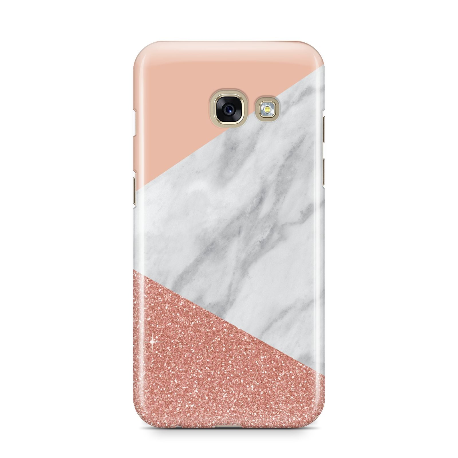Marble White Rose Gold Samsung Galaxy A3 2017 Case on gold phone