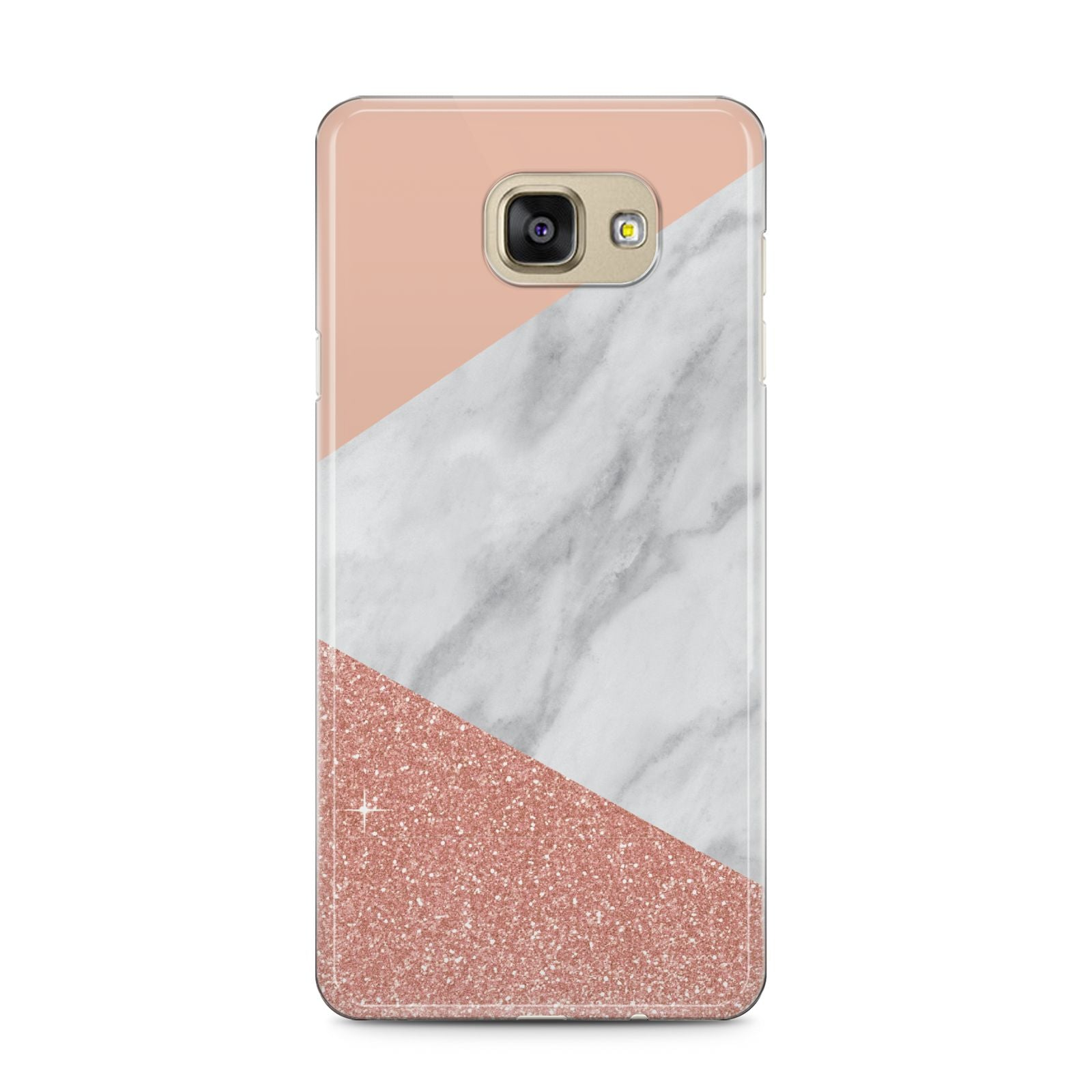 Marble White Rose Gold Samsung Galaxy A5 2016 Case on gold phone