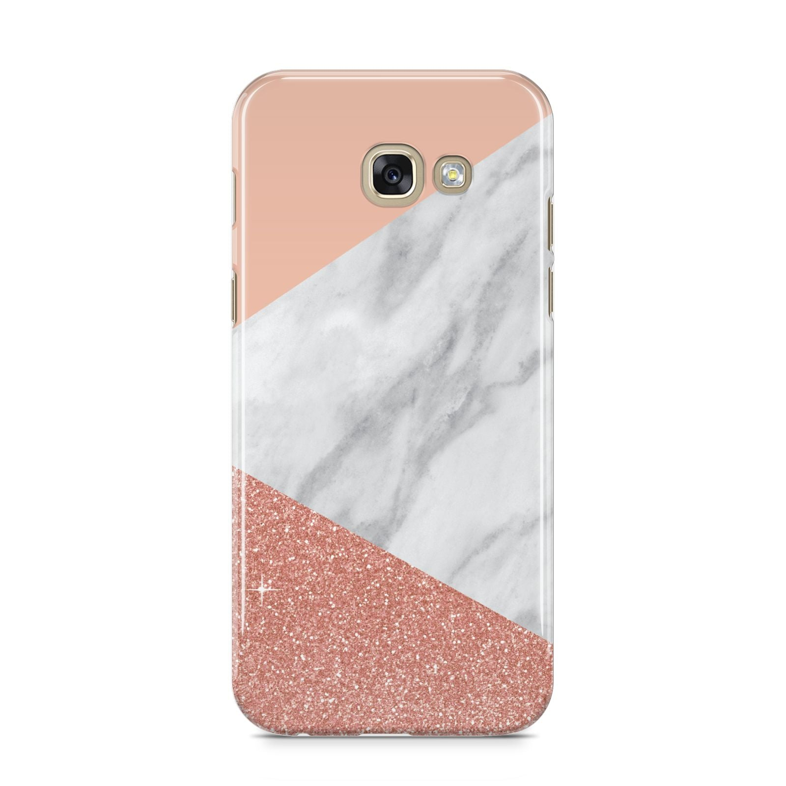 Marble White Rose Gold Samsung Galaxy A5 2017 Case on gold phone