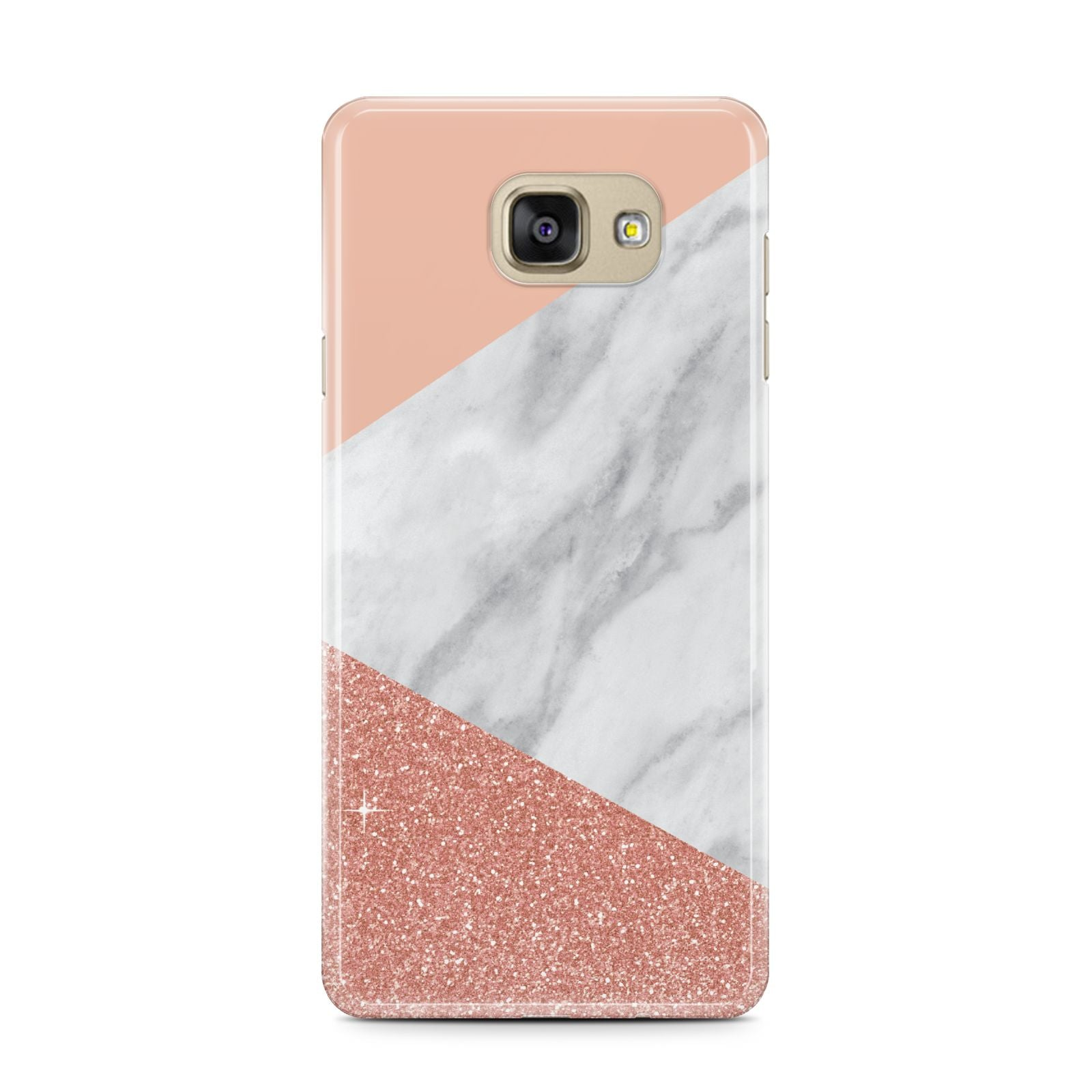 Marble White Rose Gold Samsung Galaxy A7 2016 Case on gold phone