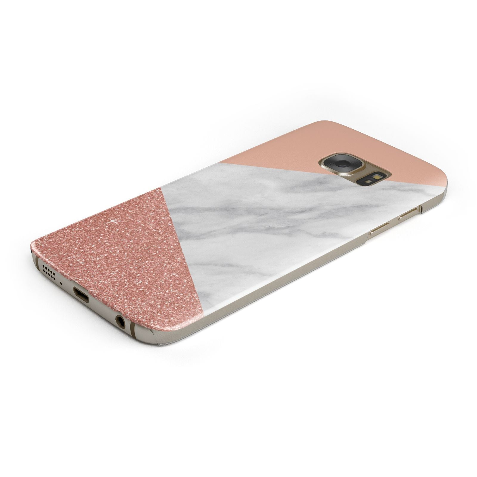 Marble White Rose Gold Samsung Galaxy Case Bottom Cutout
