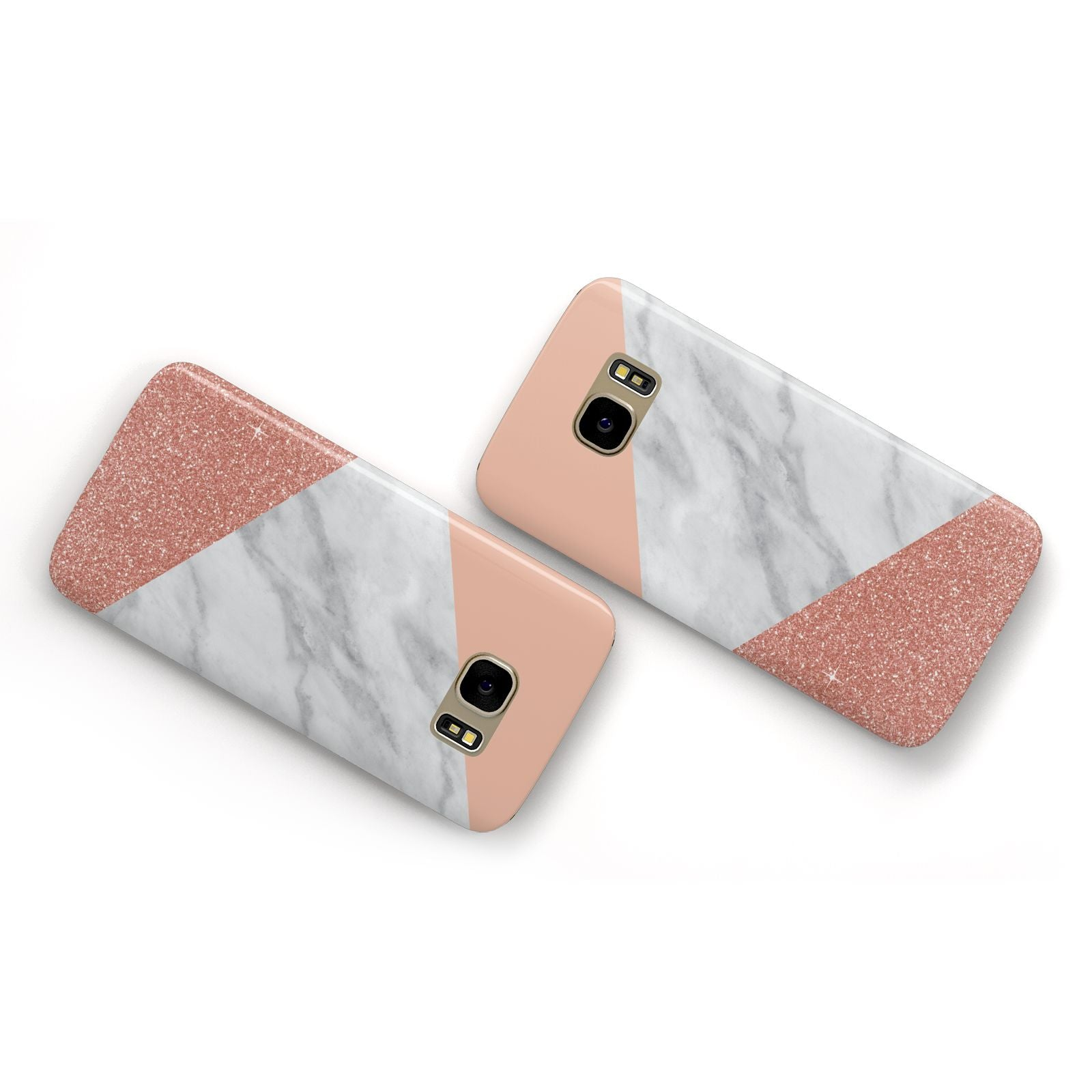 Marble White Rose Gold Samsung Galaxy Case Flat Overview