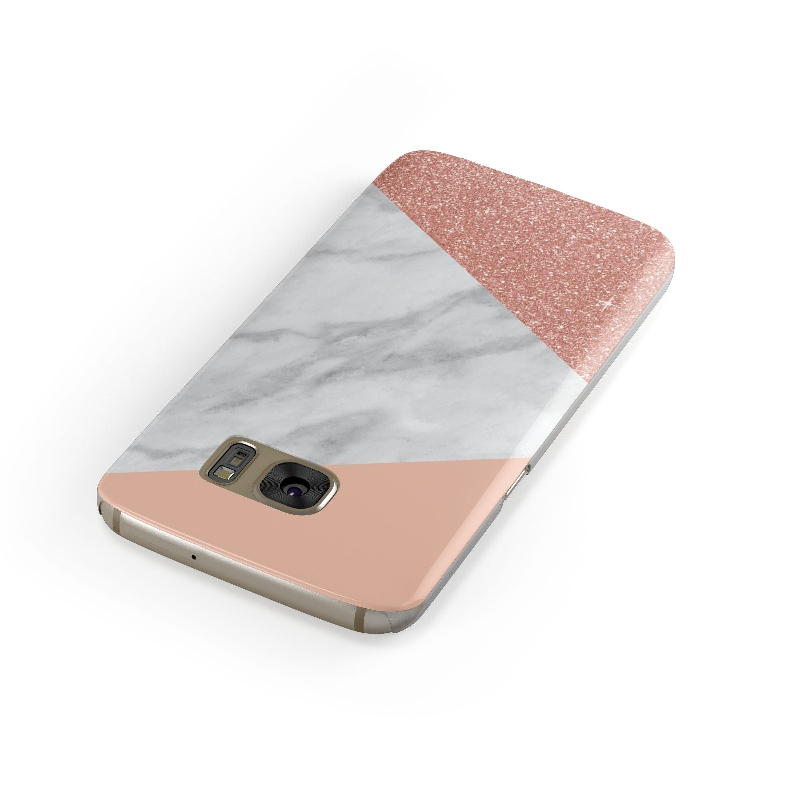 Marble White Rose Gold Samsung Galaxy Case Front Close Up