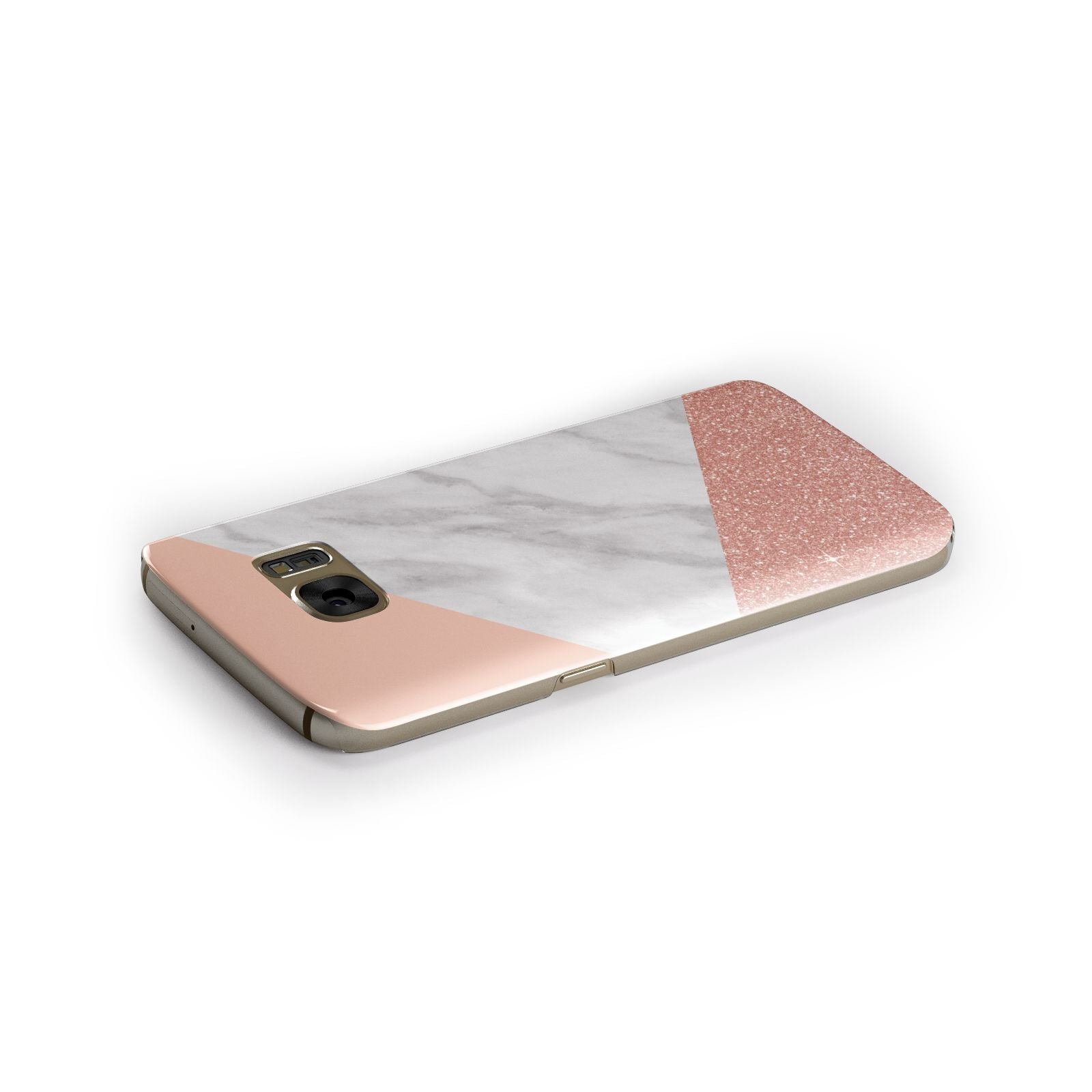 Marble White Rose Gold Samsung Galaxy Case Side Close Up