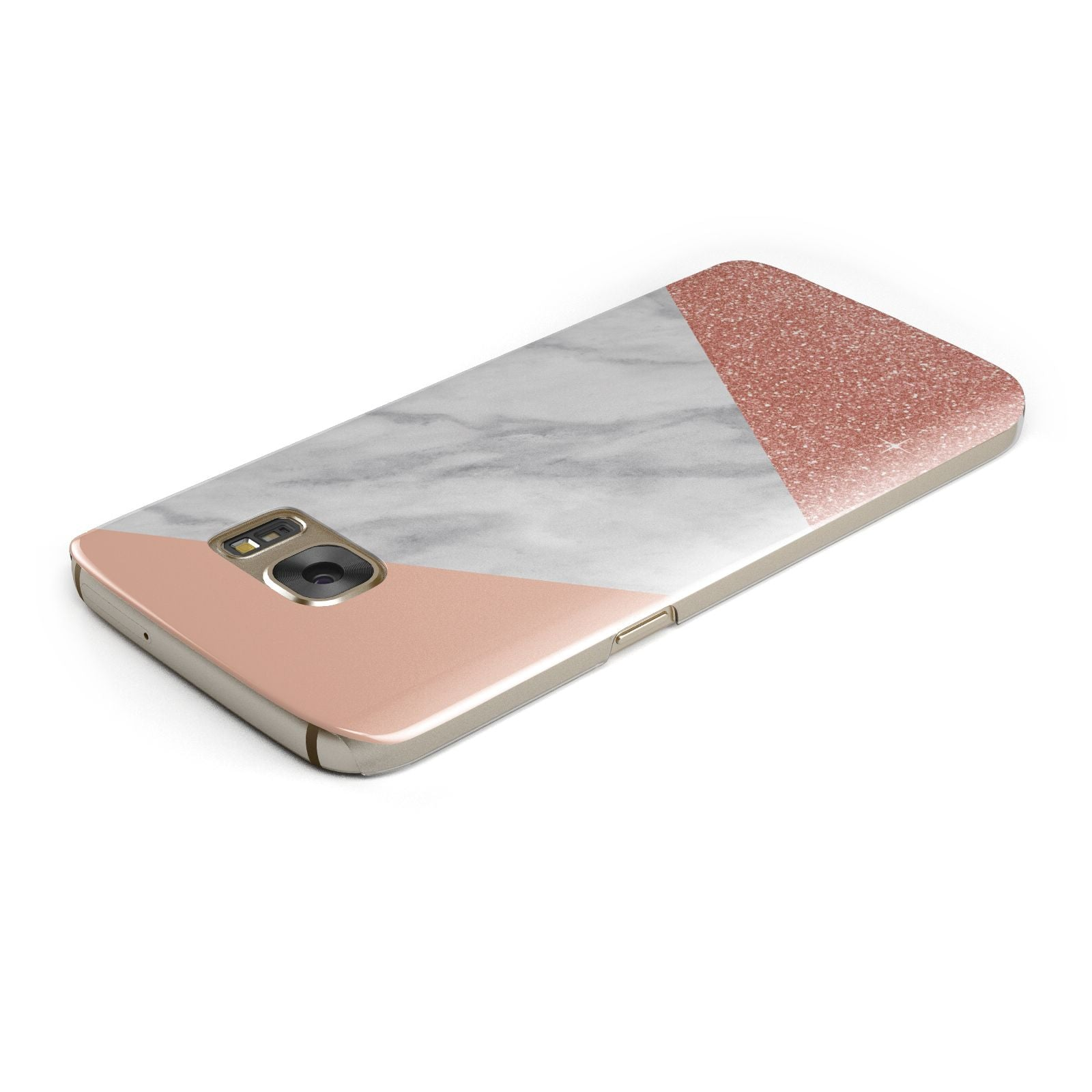 Marble White Rose Gold Samsung Galaxy Case Top Cutout