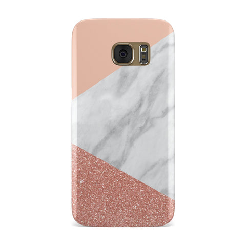Marble White Rose Gold Glitter Samsung Galaxy Case