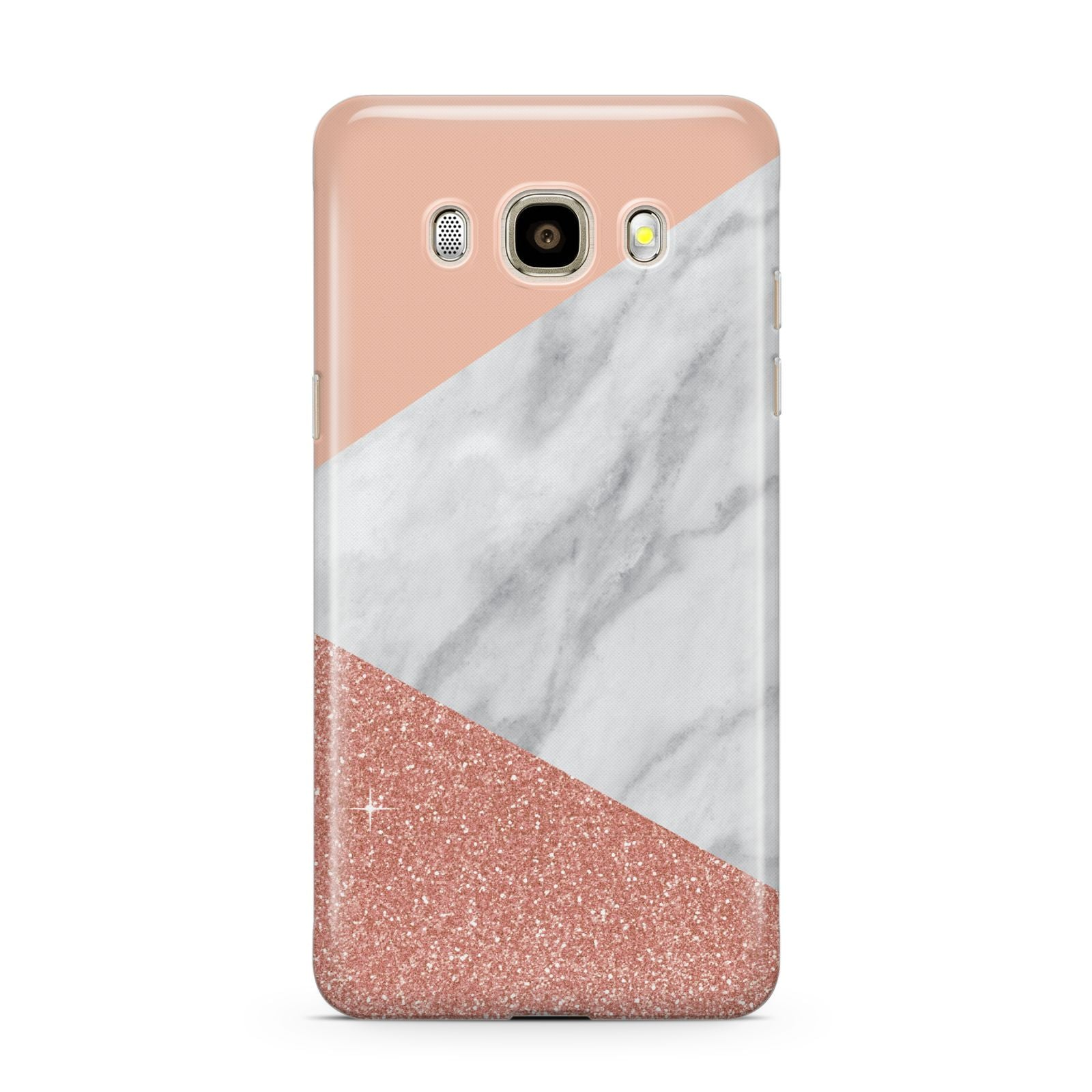 Marble White Rose Gold Samsung Galaxy J7 2016 Case on gold phone