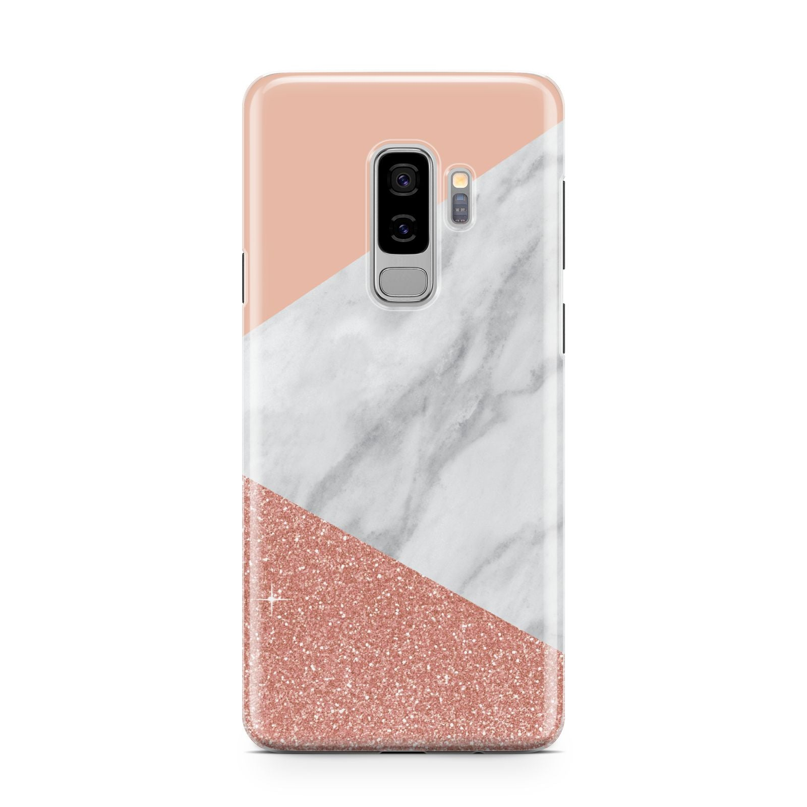 Marble White Rose Gold Samsung Galaxy S9 Plus Case on Silver phone