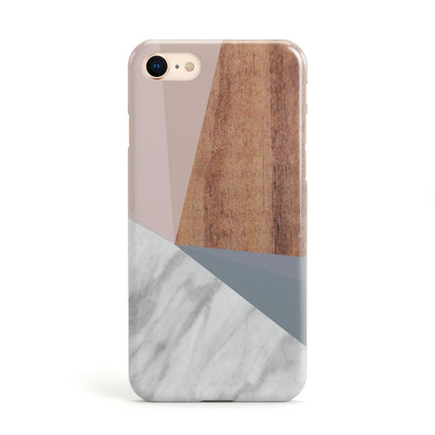 Marble Wood Geometric 1 Apple iPhone Case