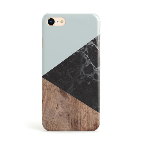 Marble Wood Geometric 2 Apple iPhone Case