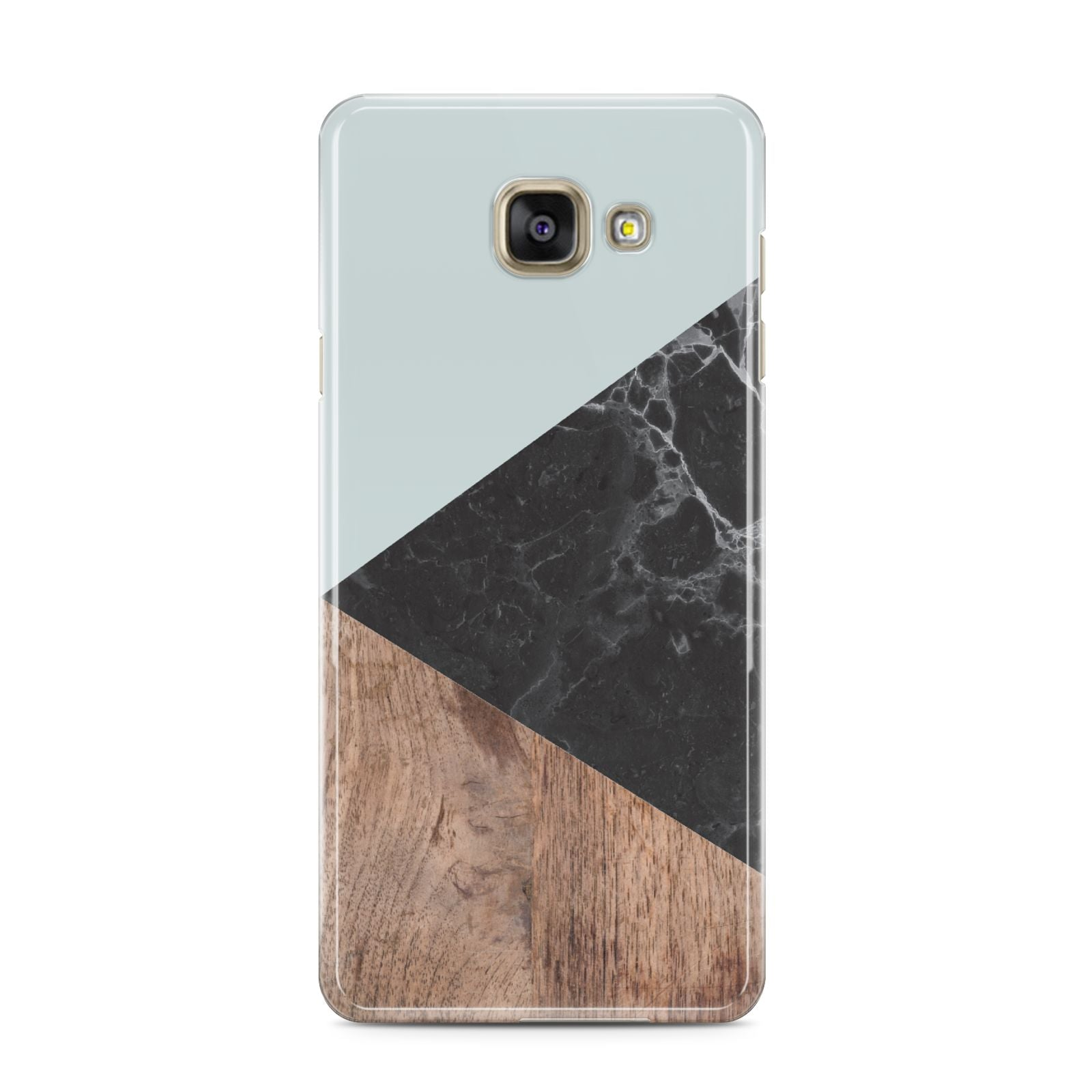 Marble Wood Geometric 2 Samsung Galaxy A3 2016 Case on gold phone