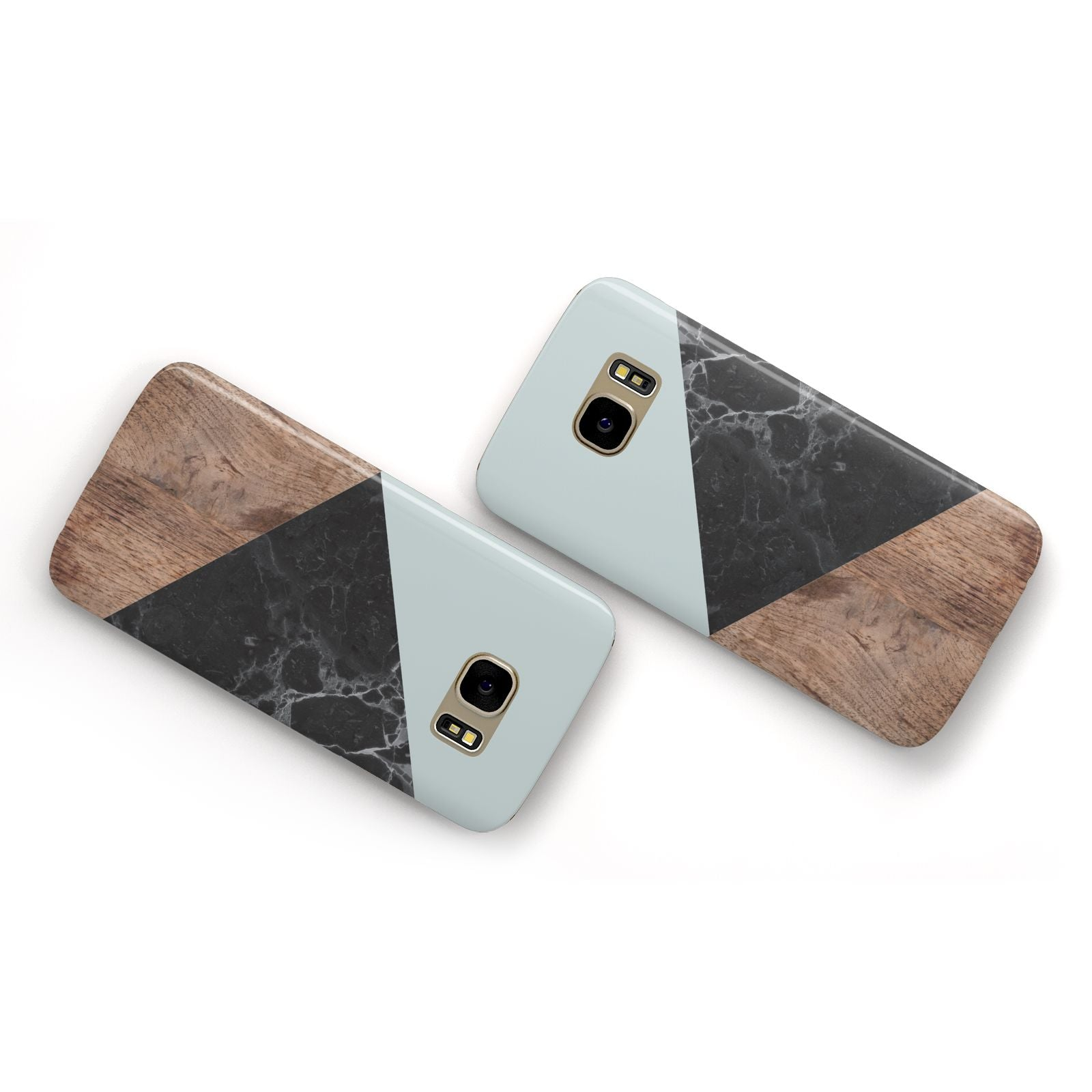 Marble Wood Geometric 2 Samsung Galaxy Case Flat Overview