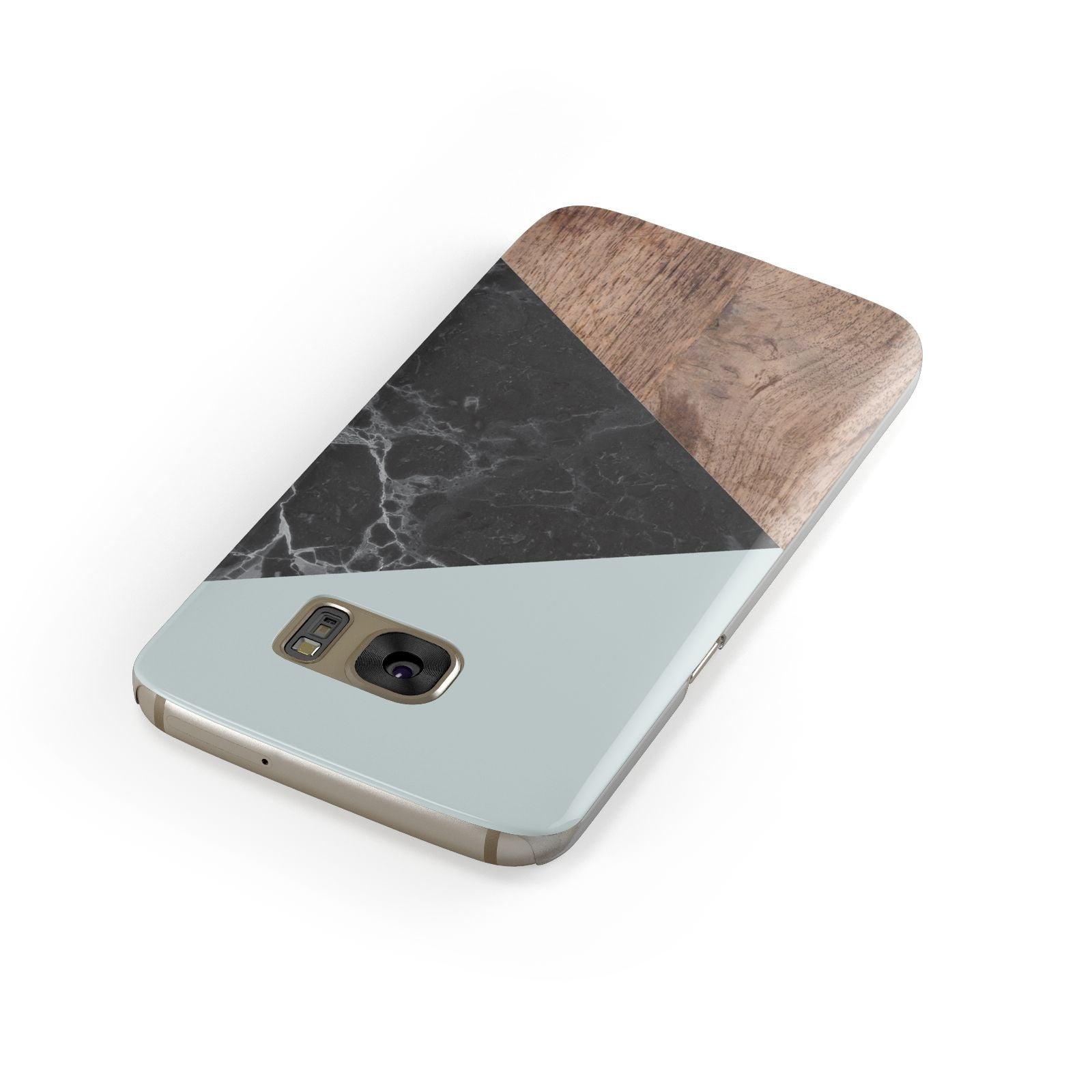 Marble Wood Geometric 2 Samsung Galaxy Case Front Close Up
