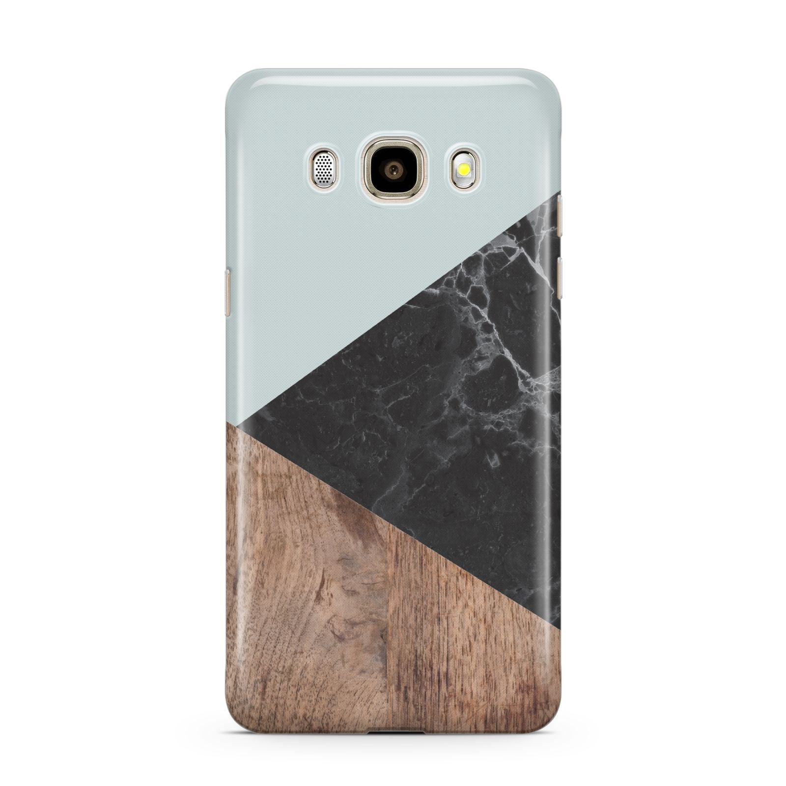 Marble Wood Geometric 2 Samsung Galaxy J7 2016 Case on gold phone