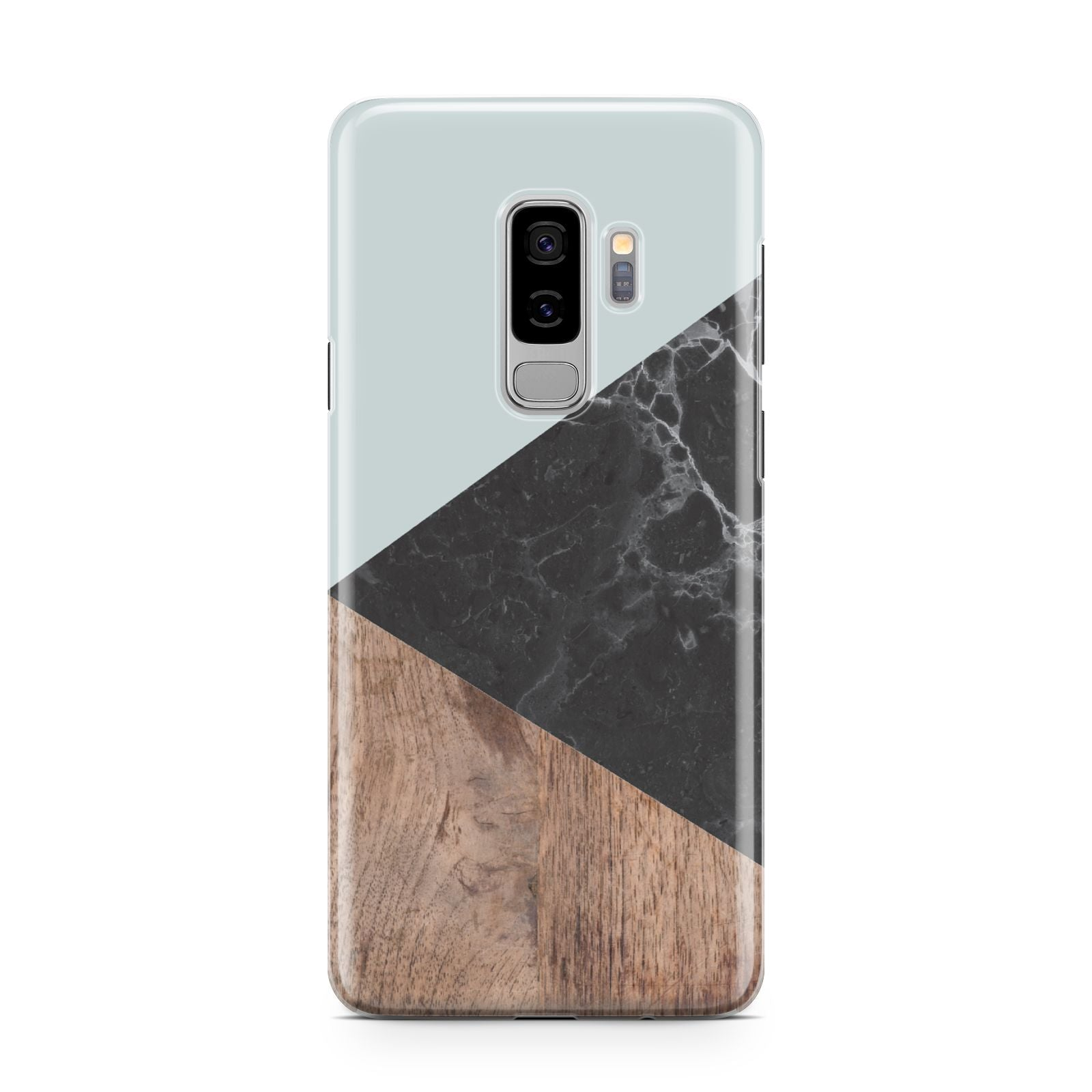 Marble Wood Geometric 2 Samsung Galaxy S9 Plus Case on Silver phone