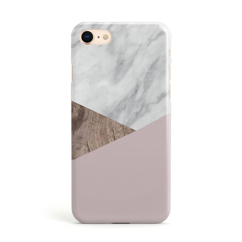 Marble Wood Geometric 3 Apple iPhone Case