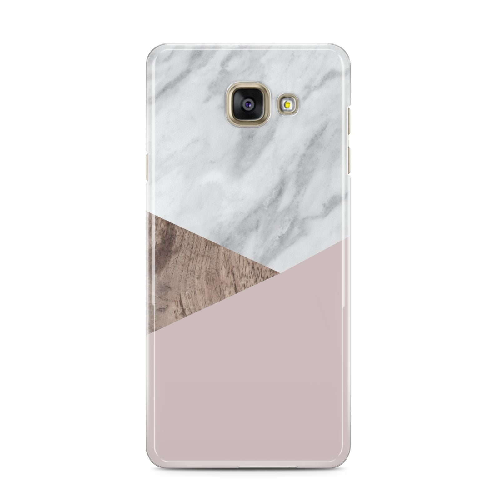 Marble Wood Geometric 3 Samsung Galaxy A3 2016 Case on gold phone