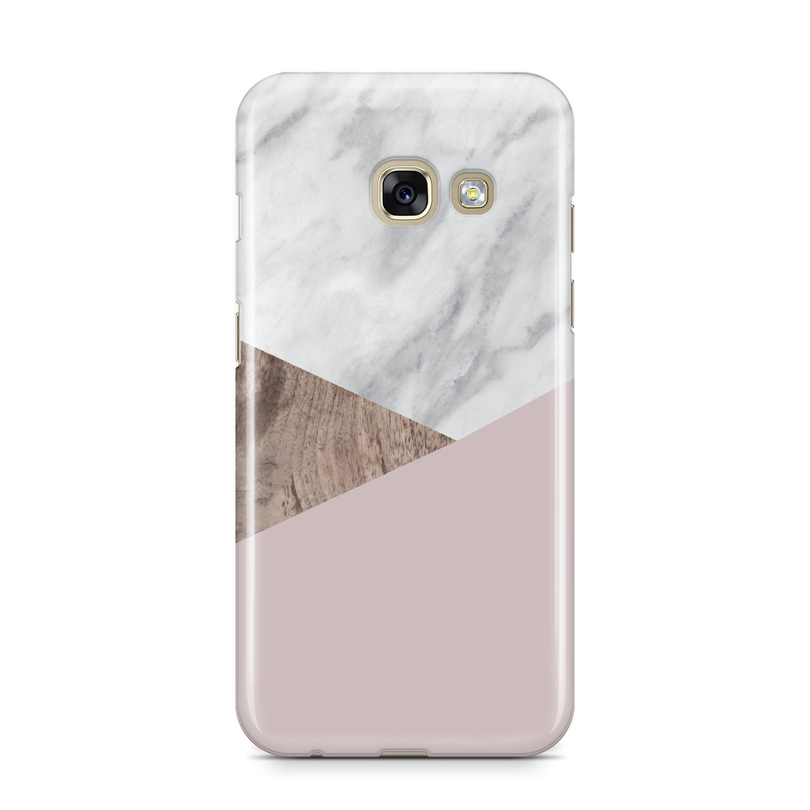 Marble Wood Geometric 3 Samsung Galaxy A3 2017 Case on gold phone