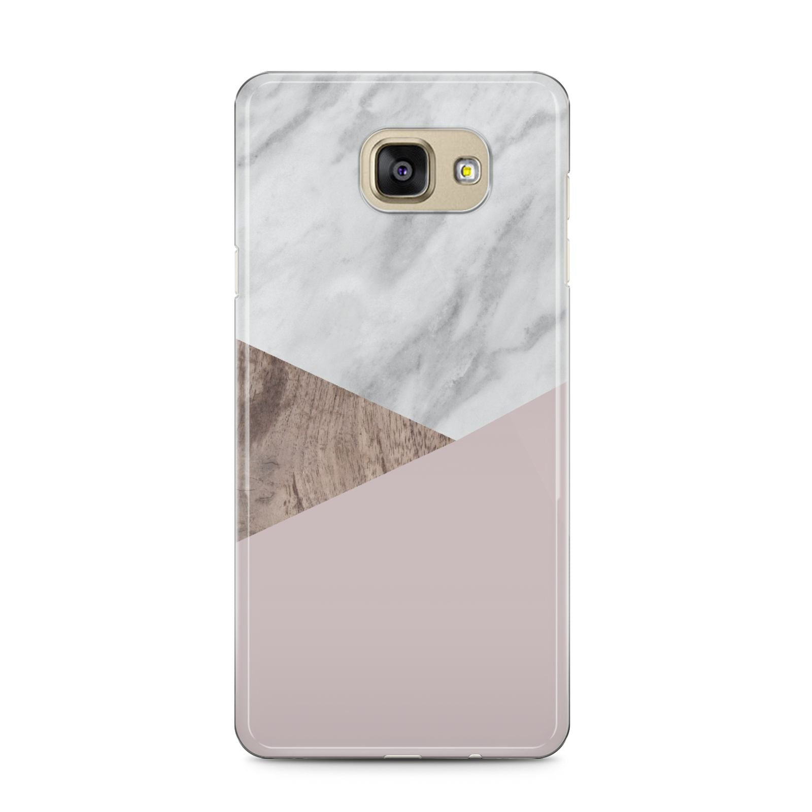 Marble Wood Geometric 3 Samsung Galaxy A5 2016 Case on gold phone