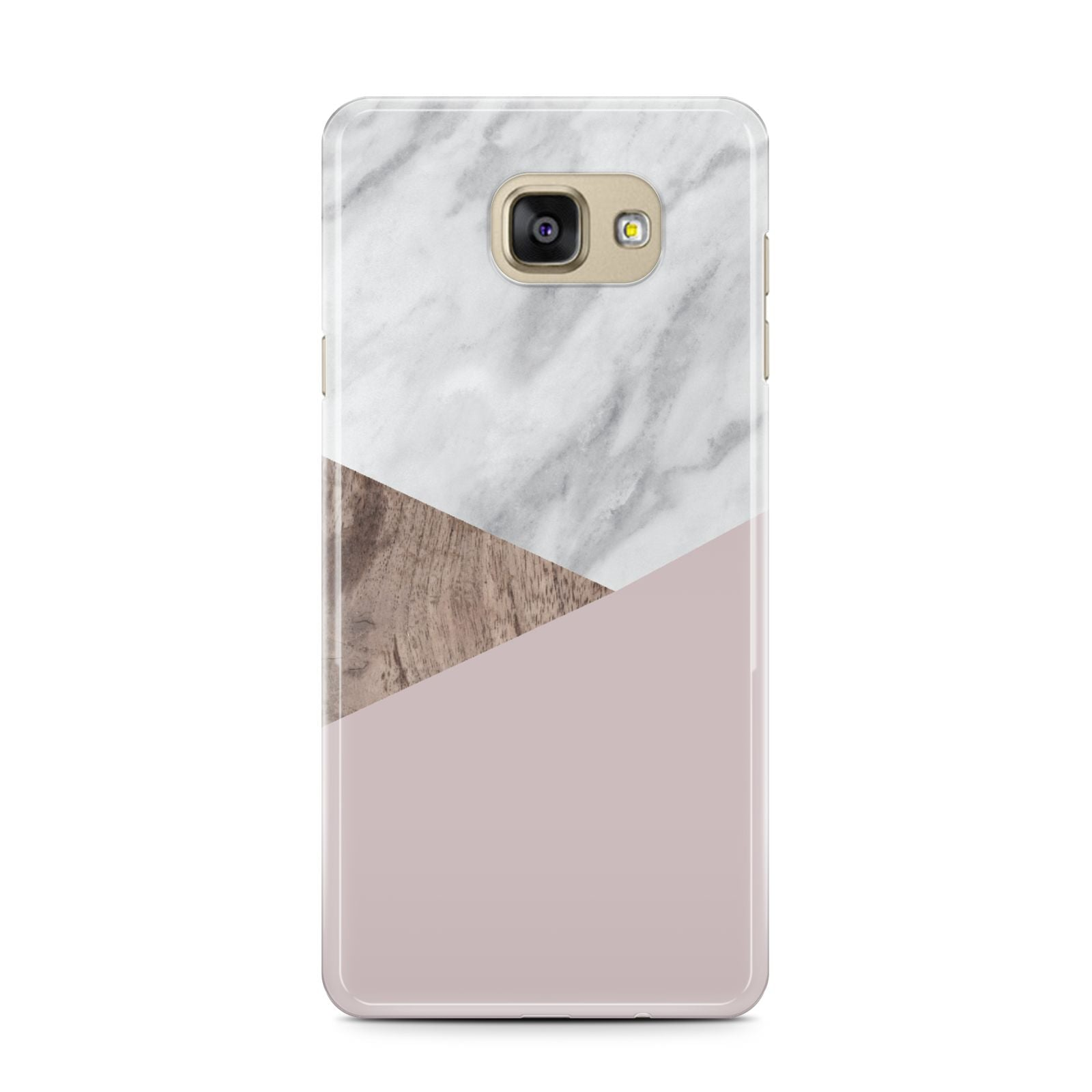 Marble Wood Geometric 3 Samsung Galaxy A7 2016 Case on gold phone