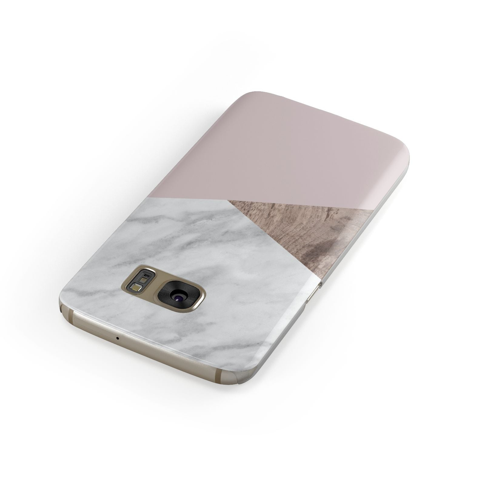 Marble Wood Geometric 3 Samsung Galaxy Case Front Close Up
