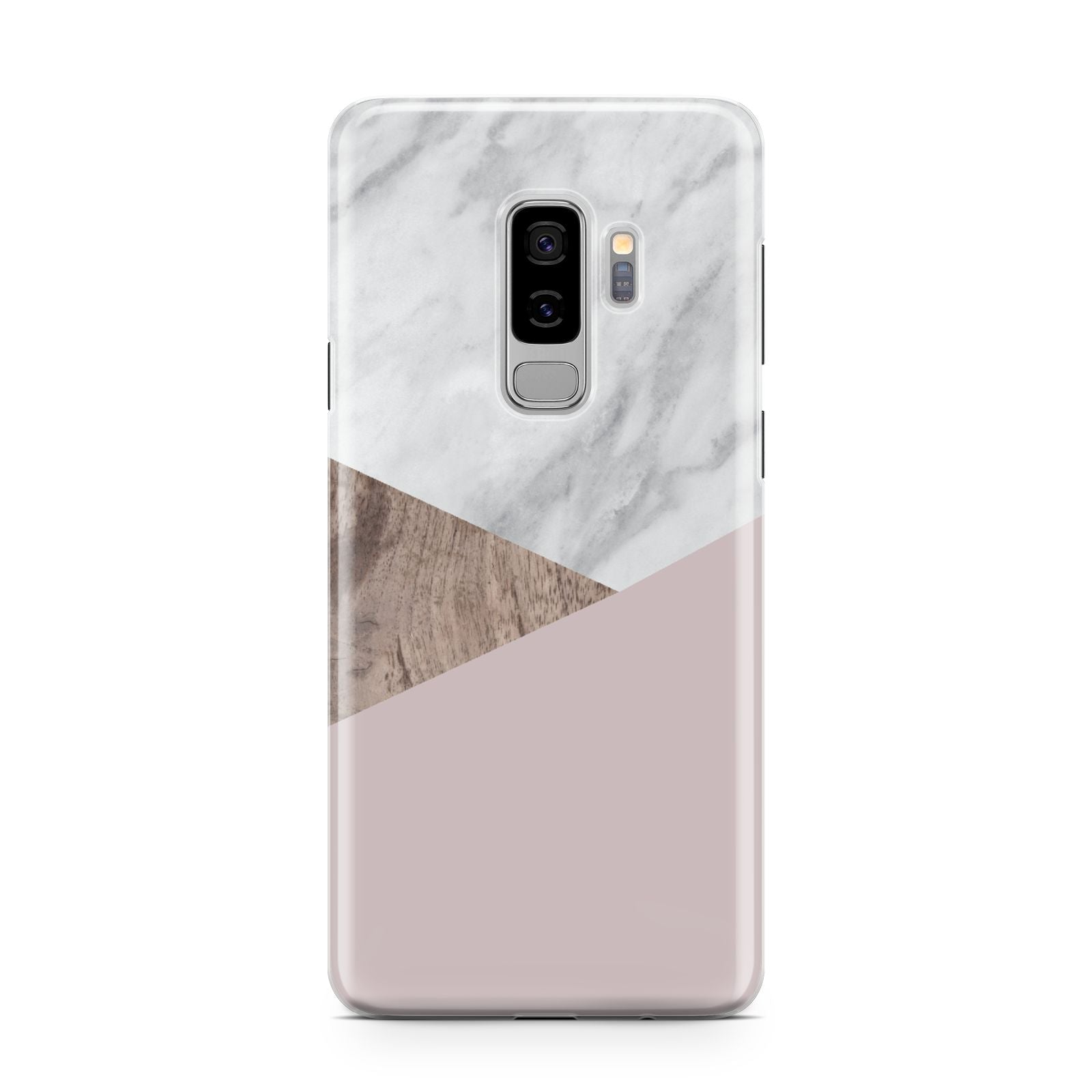 Marble Wood Geometric 3 Samsung Galaxy S9 Plus Case on Silver phone