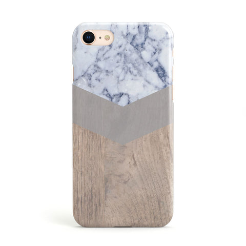 Marble Wood Geometric 4 Apple iPhone Case
