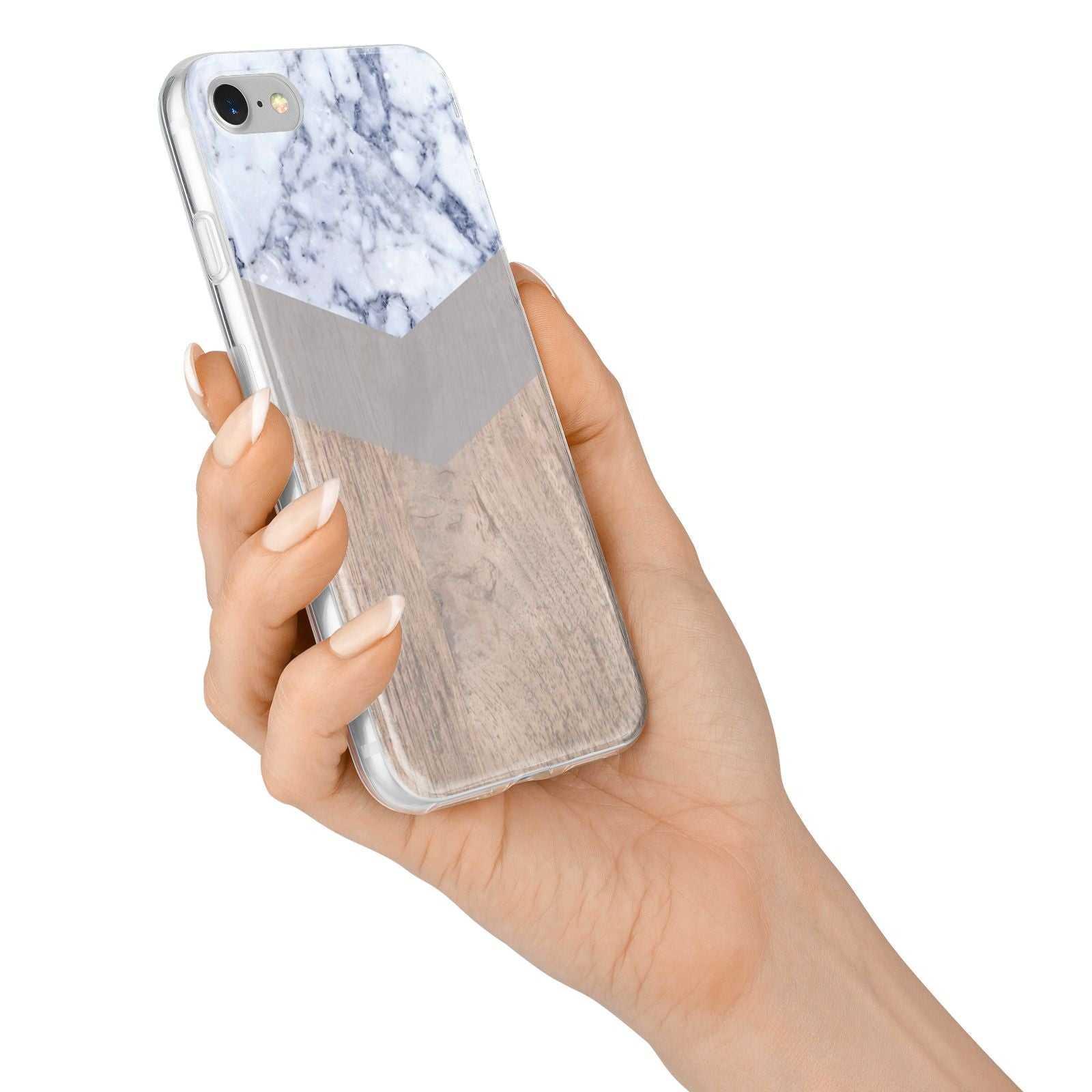 Marble Wood Geometric 4 iPhone 7 Bumper Case on Silver iPhone Alternative Image