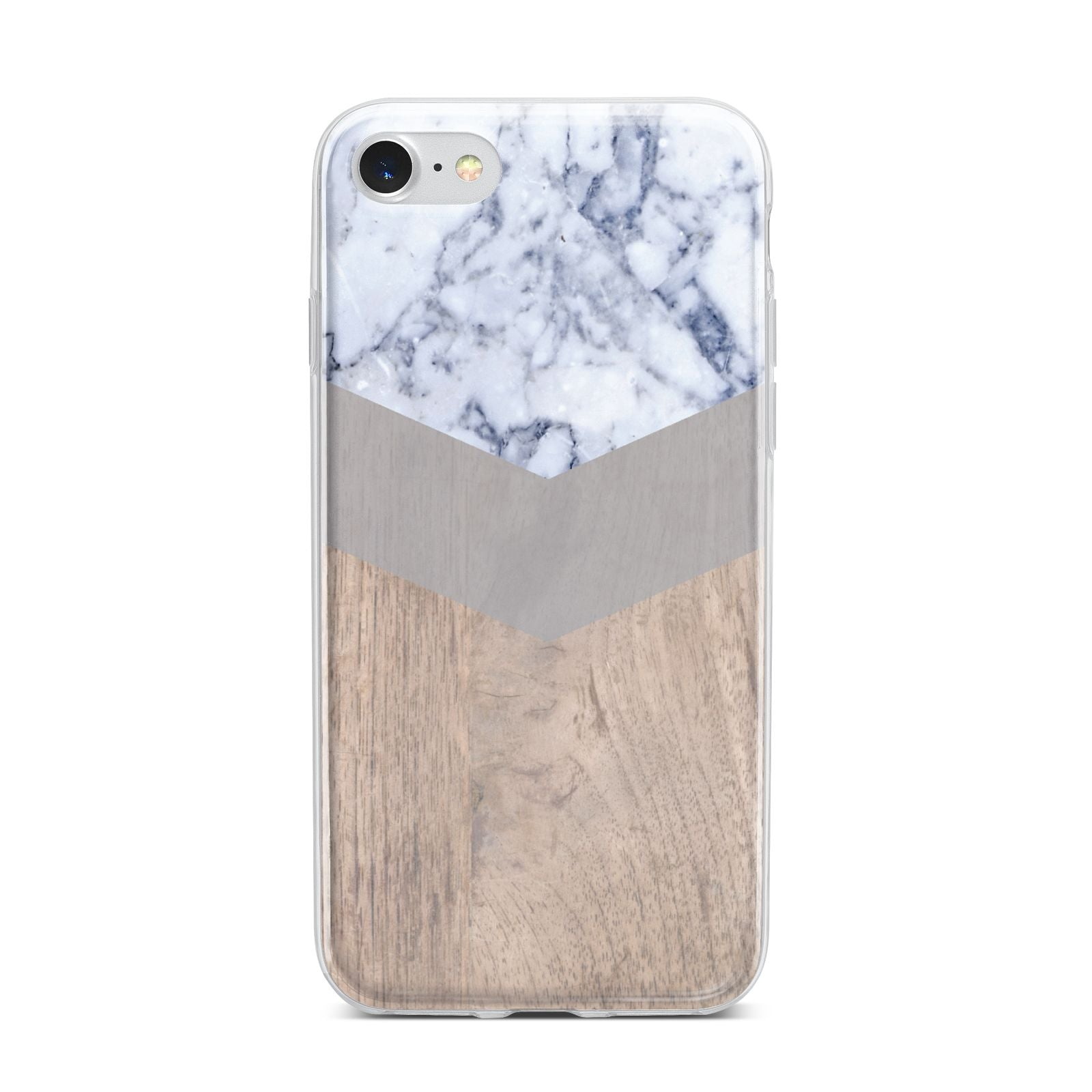 Marble Wood Geometric 4 iPhone 7 Bumper Case on Silver iPhone