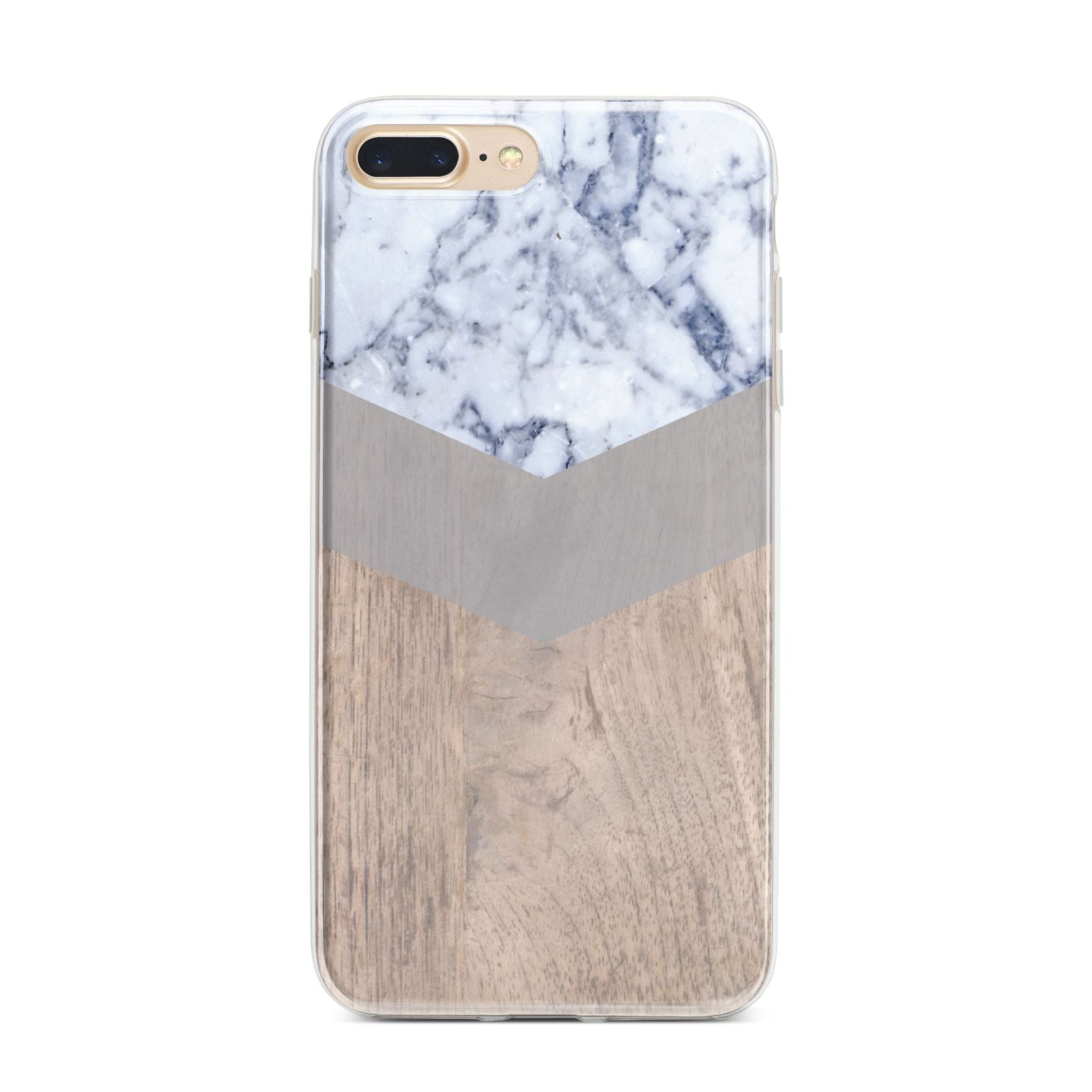 Marble Wood Geometric 4 iPhone 7 Plus Bumper Case on Gold iPhone