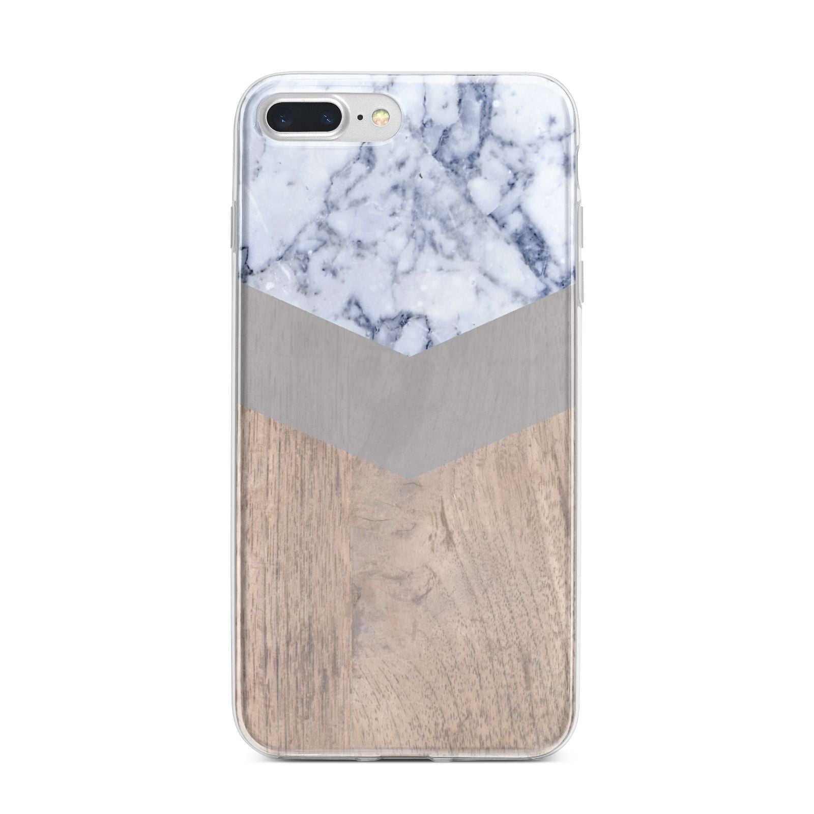 Marble Wood Geometric 4 iPhone 7 Plus Bumper Case on Silver iPhone