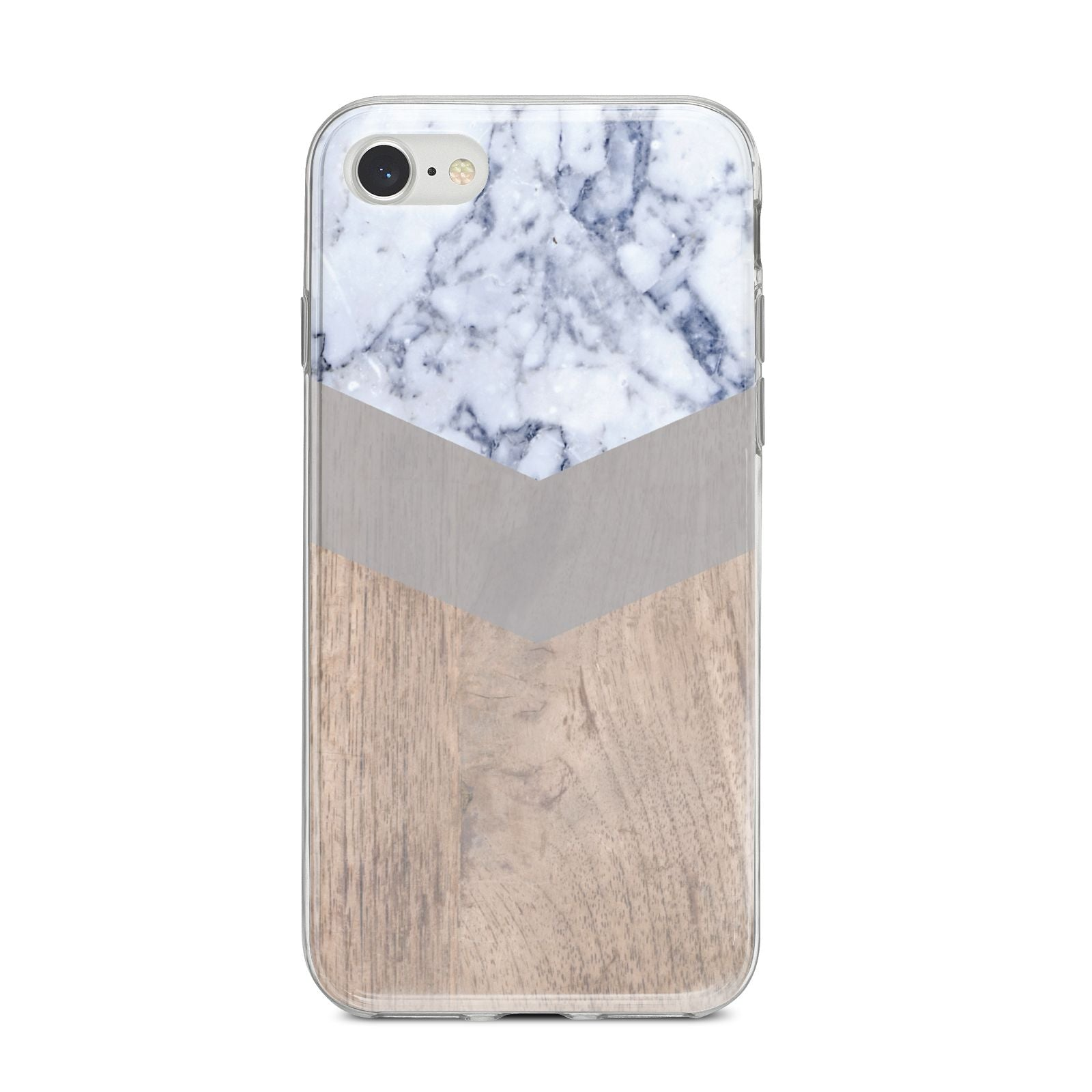 Marble Wood Geometric 4 iPhone 8 Bumper Case on Silver iPhone