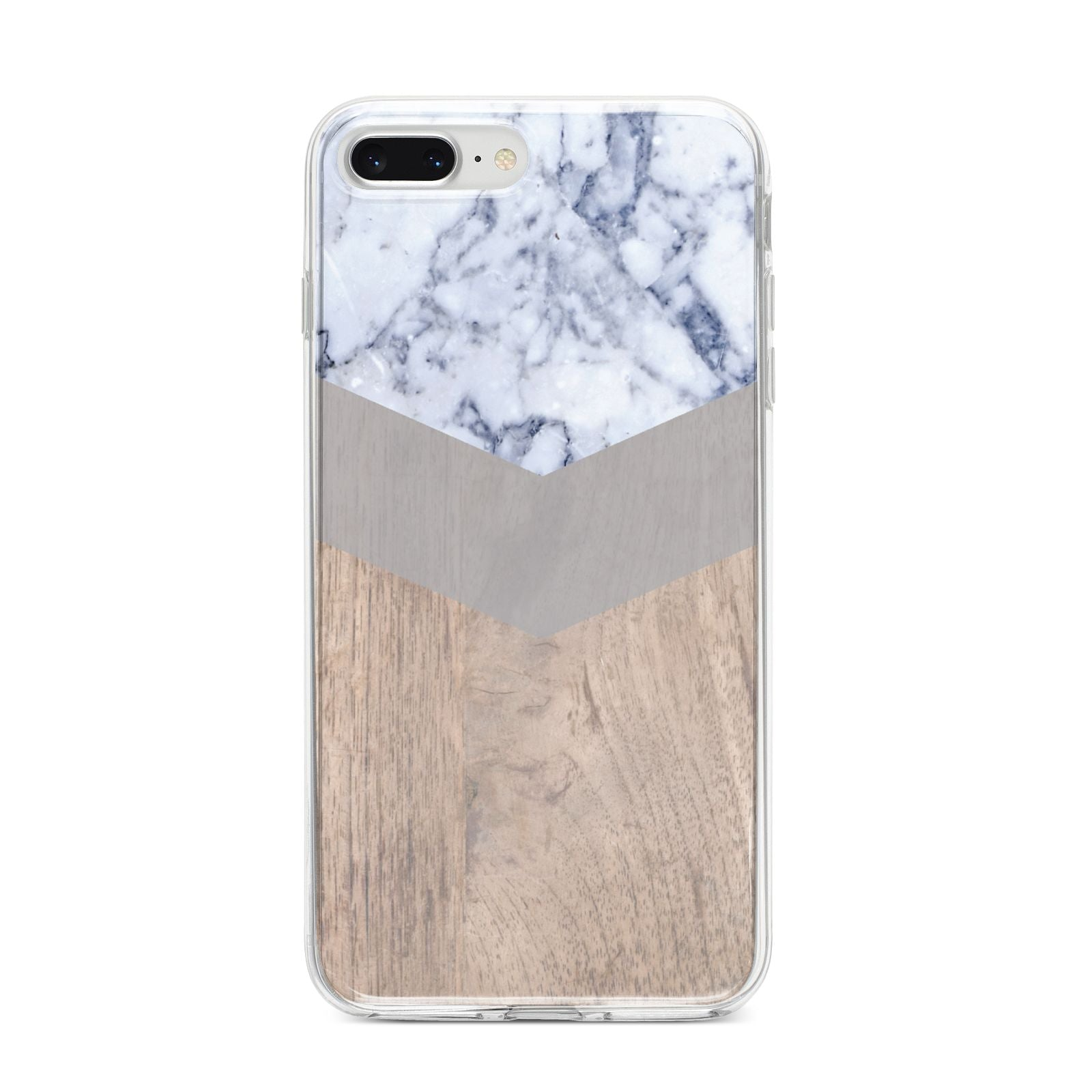 Marble Wood Geometric 4 iPhone 8 Plus Bumper Case on Silver iPhone