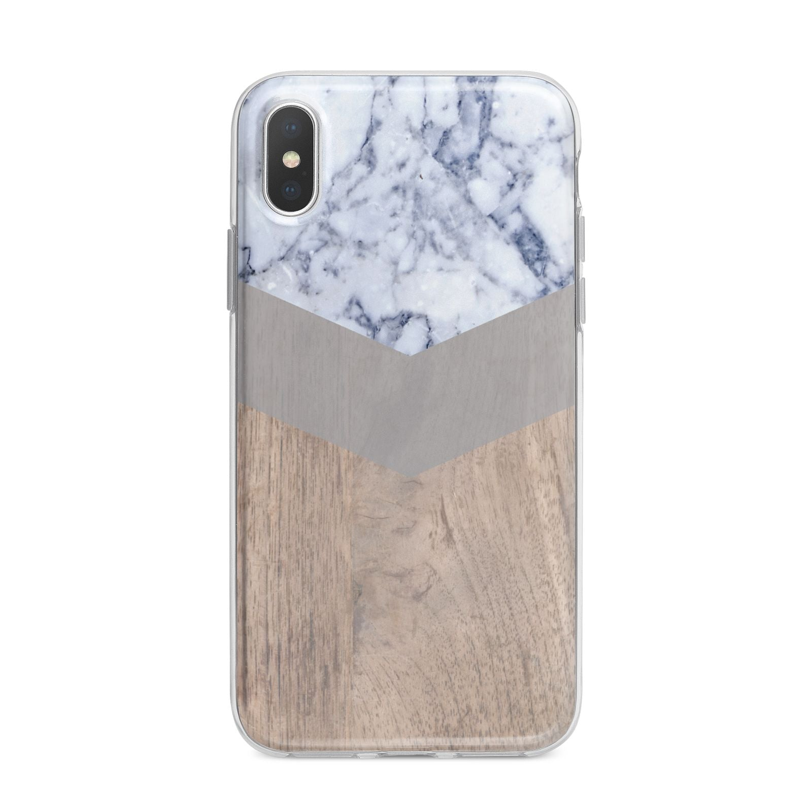 Marble Wood Geometric 4 iPhone X Bumper Case on Silver iPhone Alternative Image 1